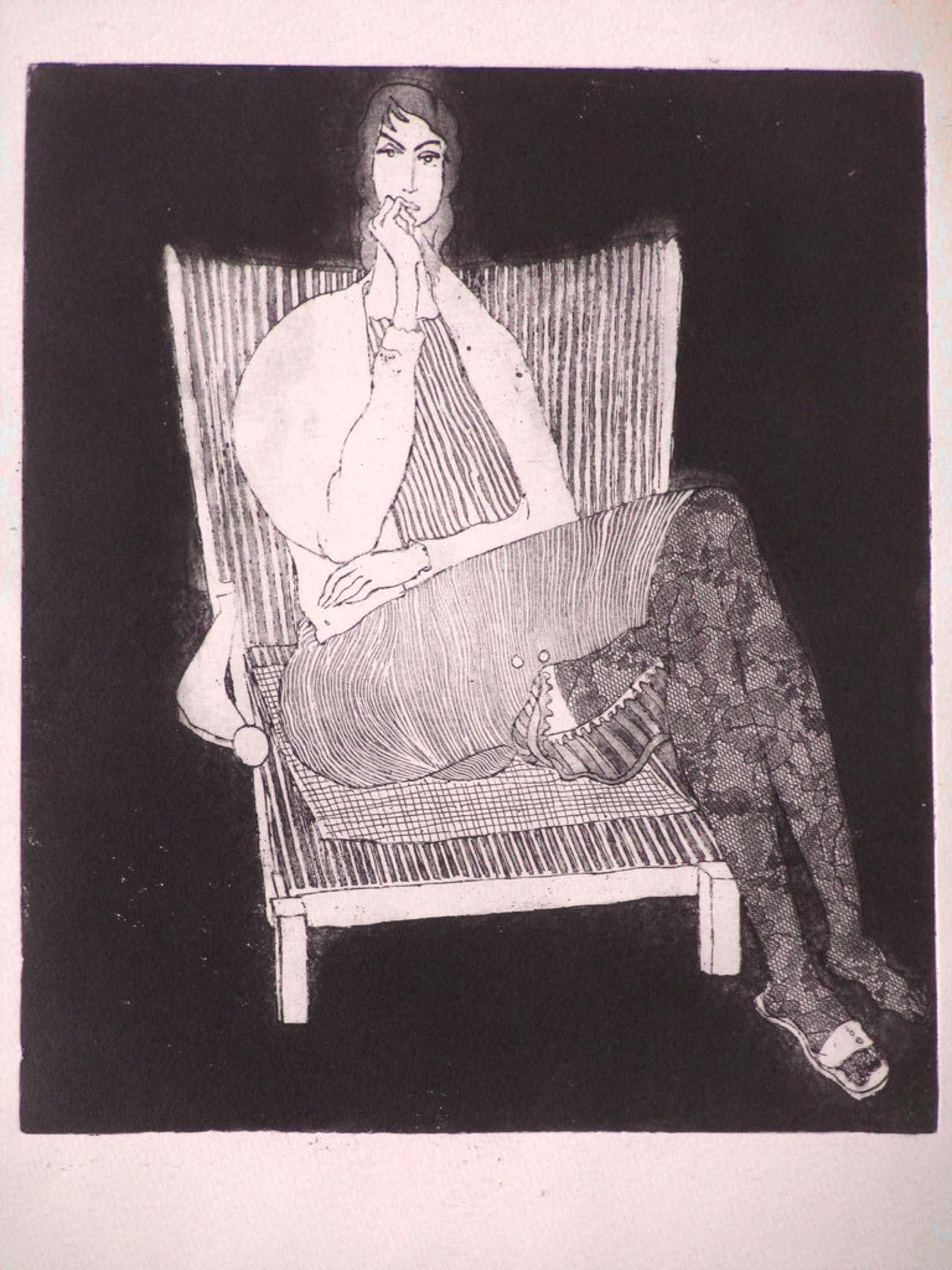 Theo Beerendonk, Vrouw in stoel, Ets kopen? Bied vanaf 55!