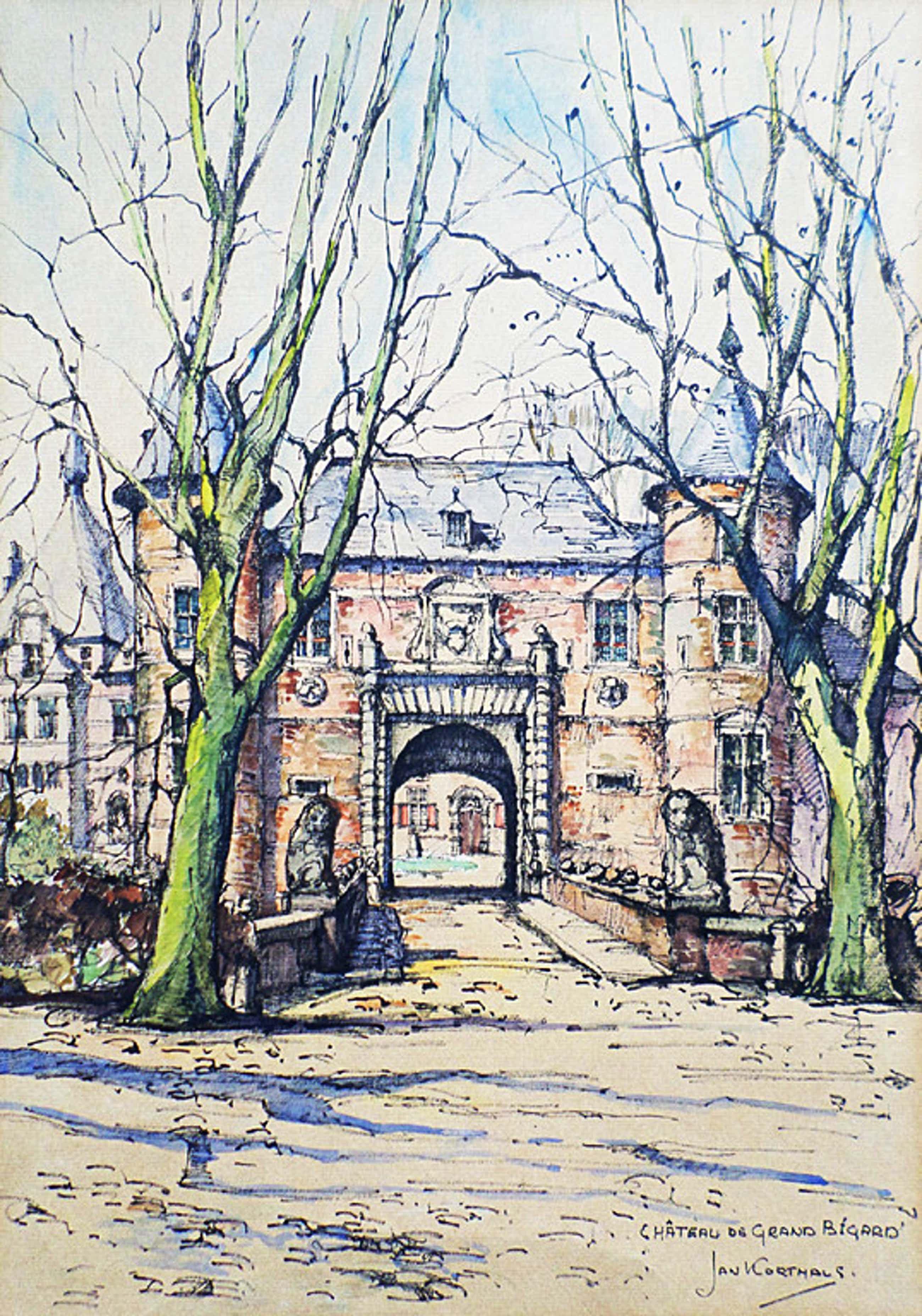Jan Korthals – Chateau de Grand Bigard, tekening / aquarel kopen? Bied vanaf 75!