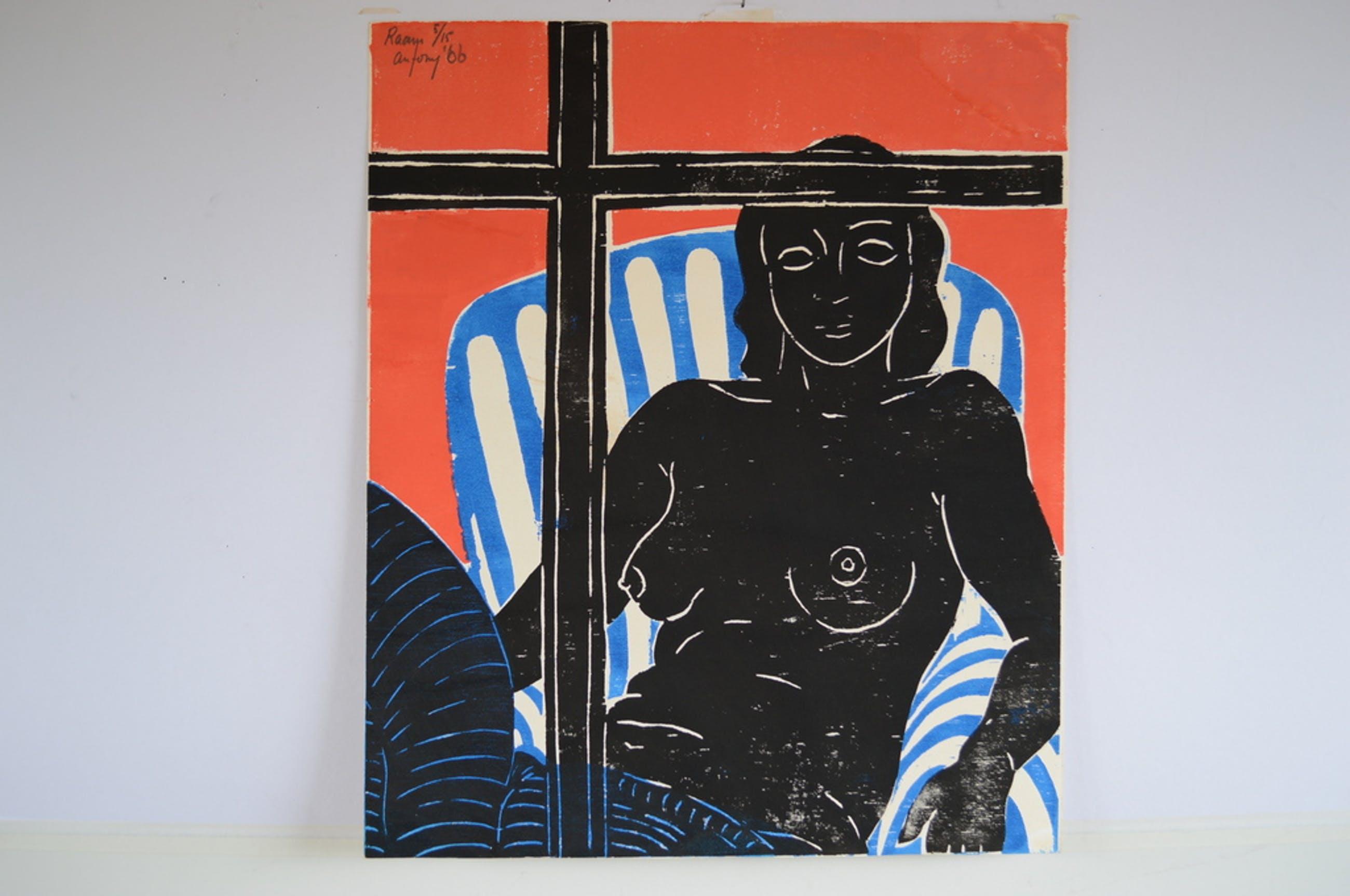 Antony Frans de Baat ( 1945-   houtsnede 60 x 50 - Raam I - 1966  kopen? Bied vanaf 70!