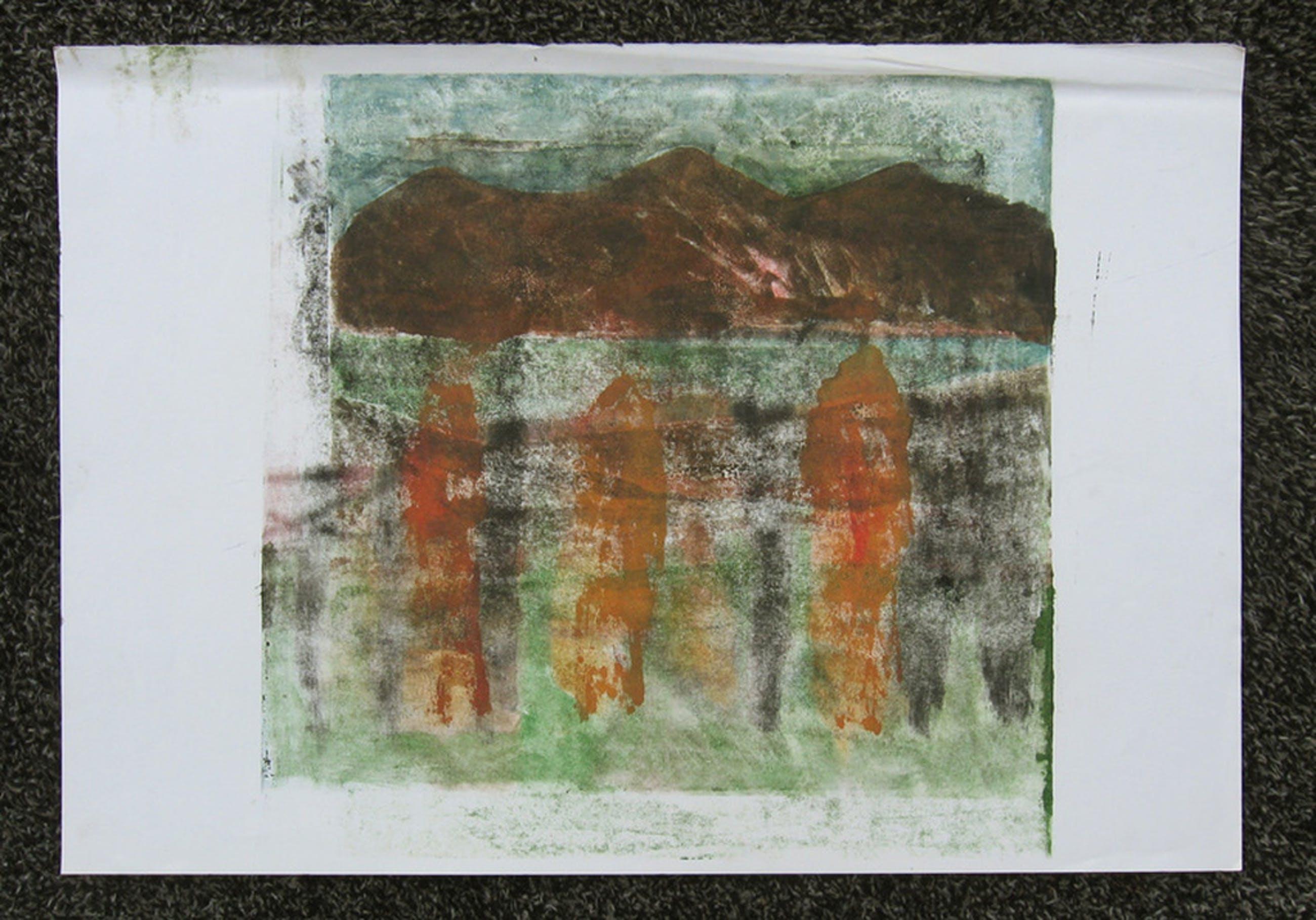 DRIE GEDAANTEN IN LANDSCHAP - monotype en olieverf op papier, Irene Joffroy kopen? Bied vanaf 64!