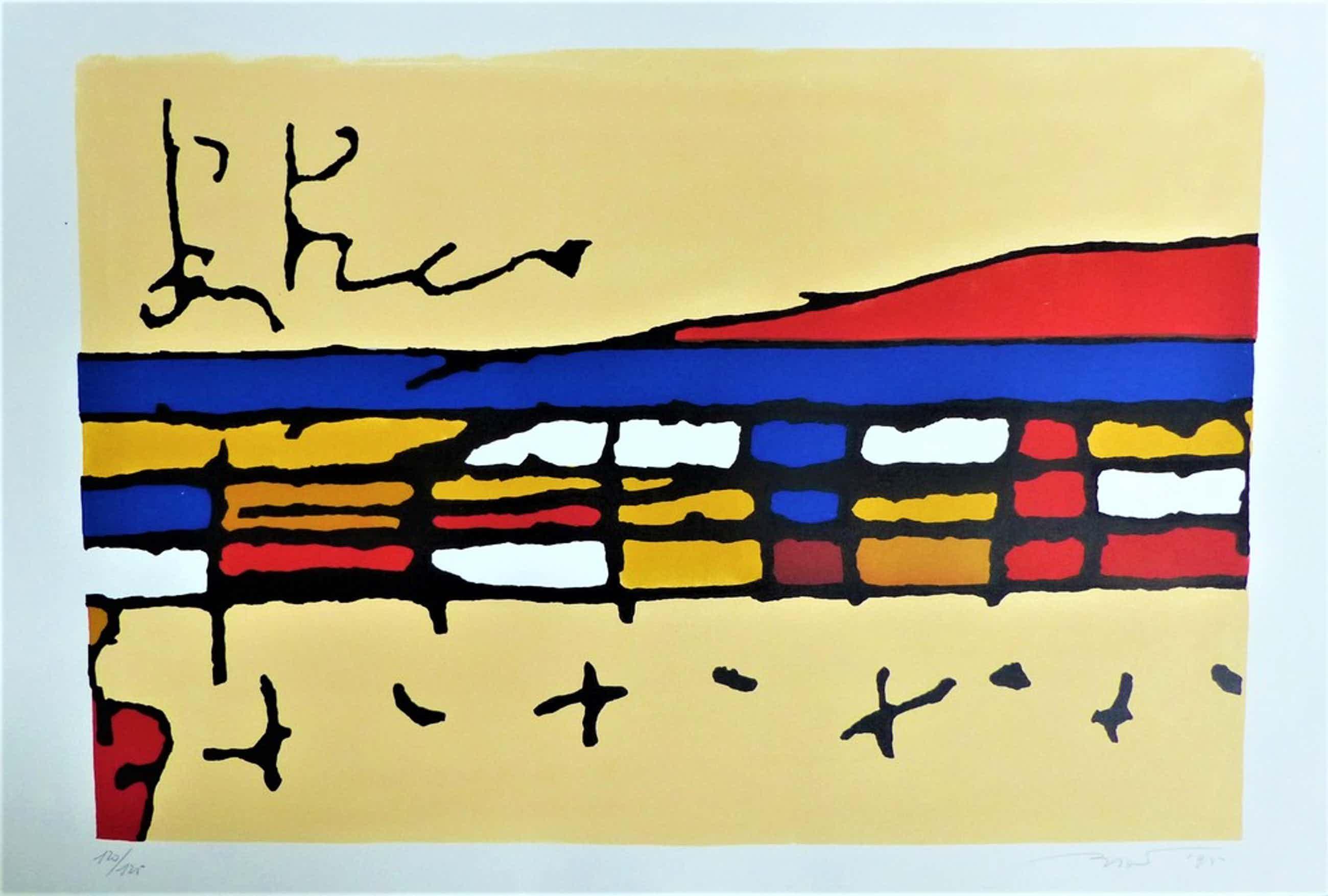 Willem Brauck, Zeefdruk op papier,Abstract,Handgesigneerd kopen? Bied vanaf 40!