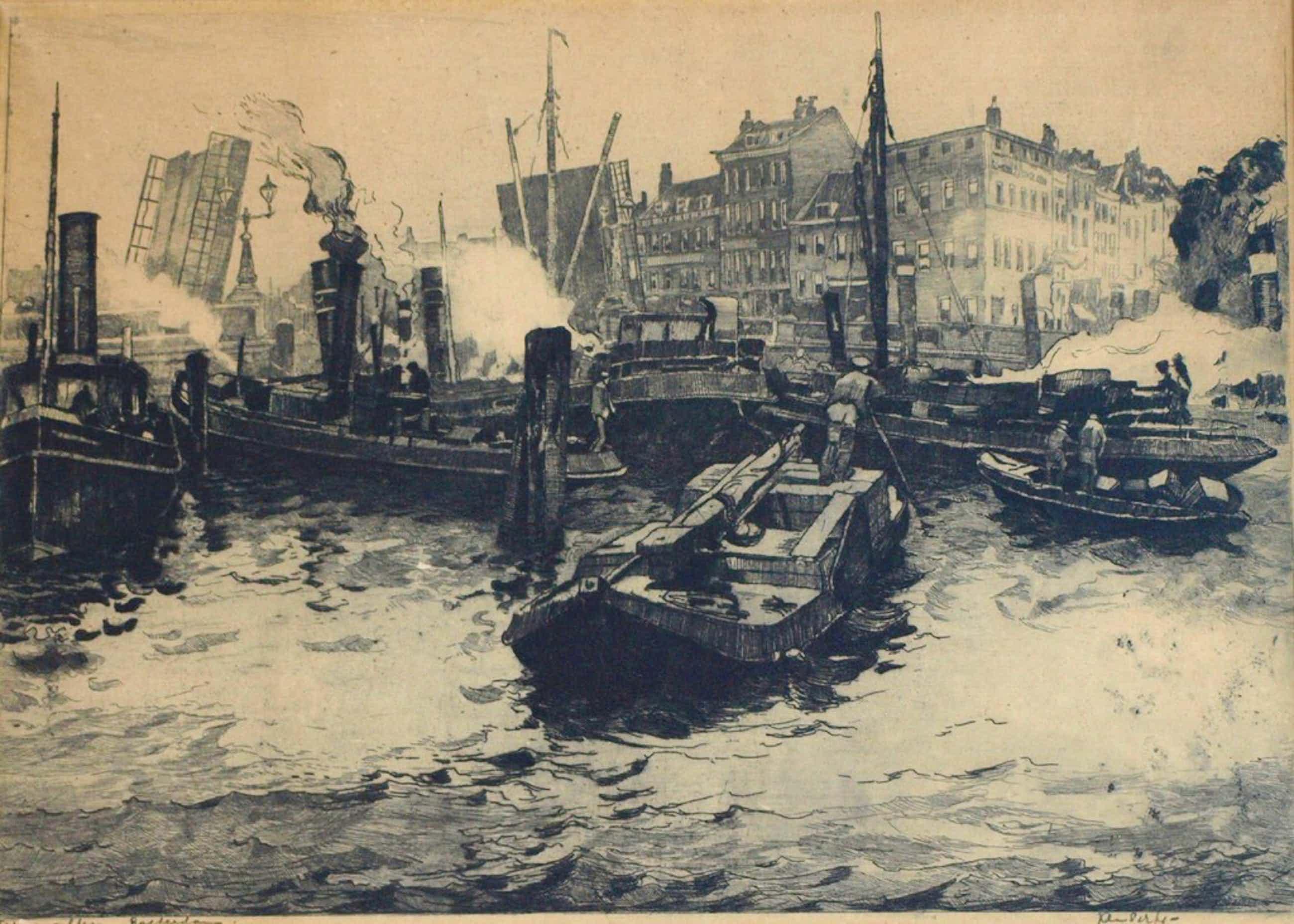 Jan Sirks : Ets , Terwenakker Rotterdam – Gesigneerd & ingelijst – ca 1920 kopen? Bied vanaf 65!