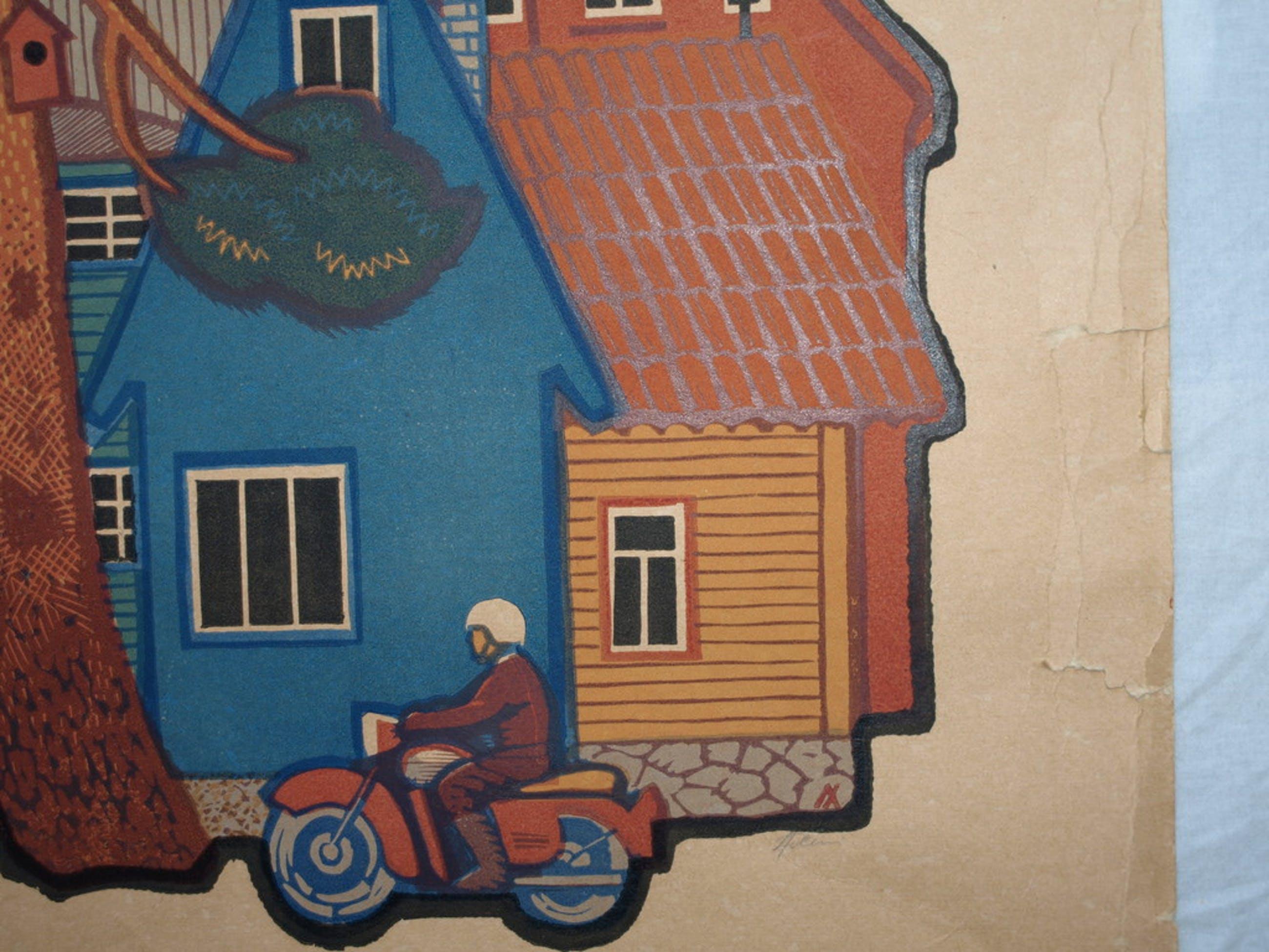 Onduidelijke signatuur – Zeefdruk – Motorrijder – Gesigneerd – ca 1970 kopen? Bied vanaf 1!