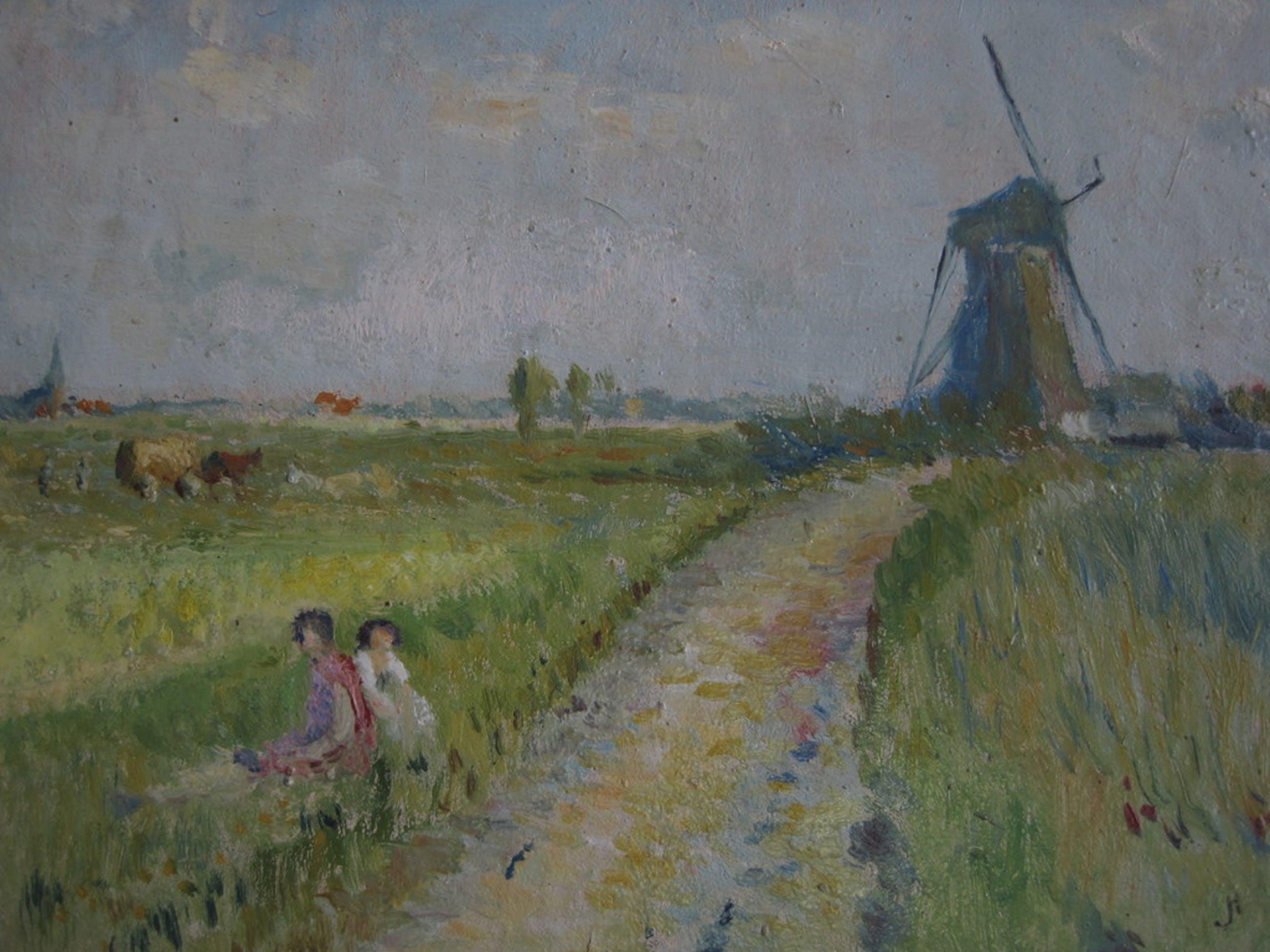 """Jan v Herwijnen olieverf Bergense School """"Molen Uitgeest"""" 1920 kopen? Bied vanaf 1!"""
