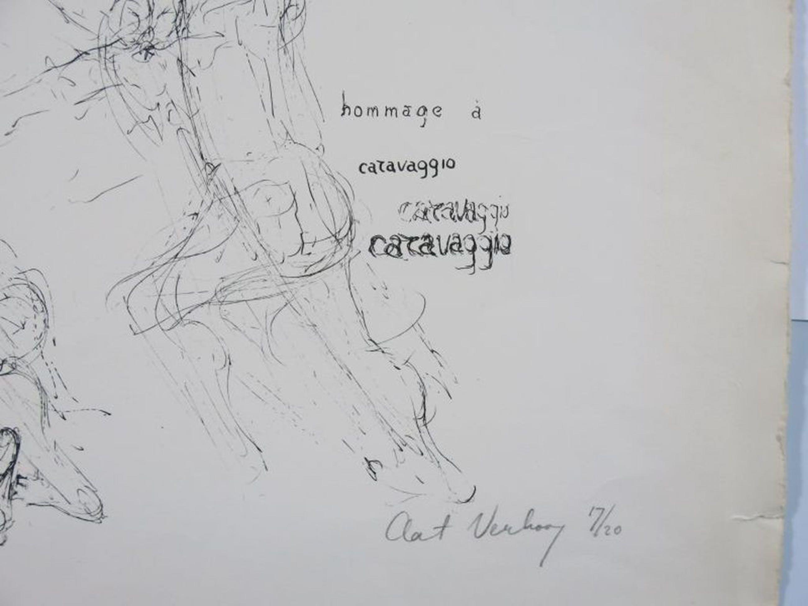 Aat Verhoog: Litho, Hommage à Caravaggio kopen? Bied vanaf 50!