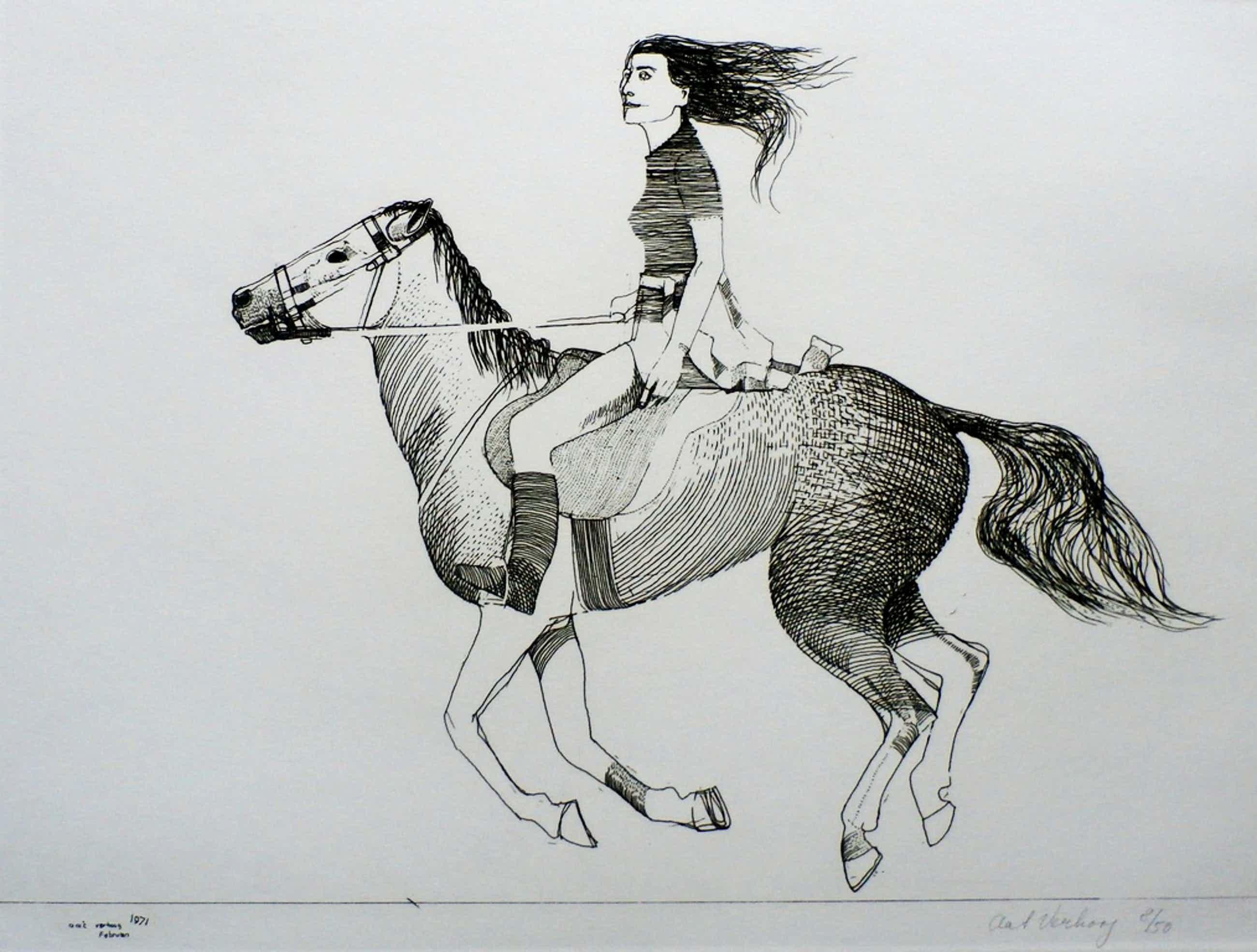 Aat verhoog - ets: meisje op paard - 1971 kopen? Bied vanaf 50!