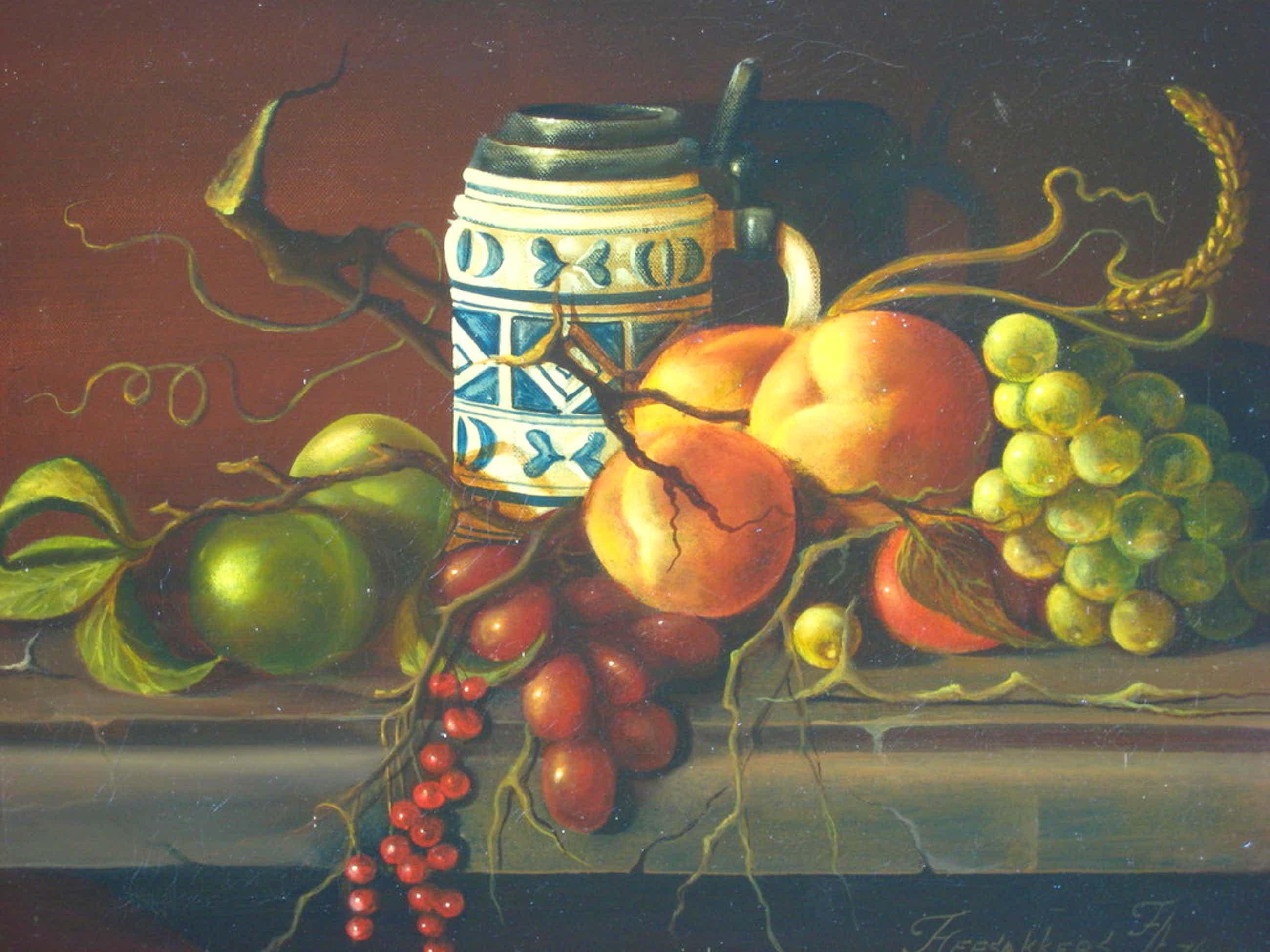 Thomas Heesakkers (1946-). Olieverf op doek. Stilleven met fruit en bierpul. kopen? Bied vanaf 275!
