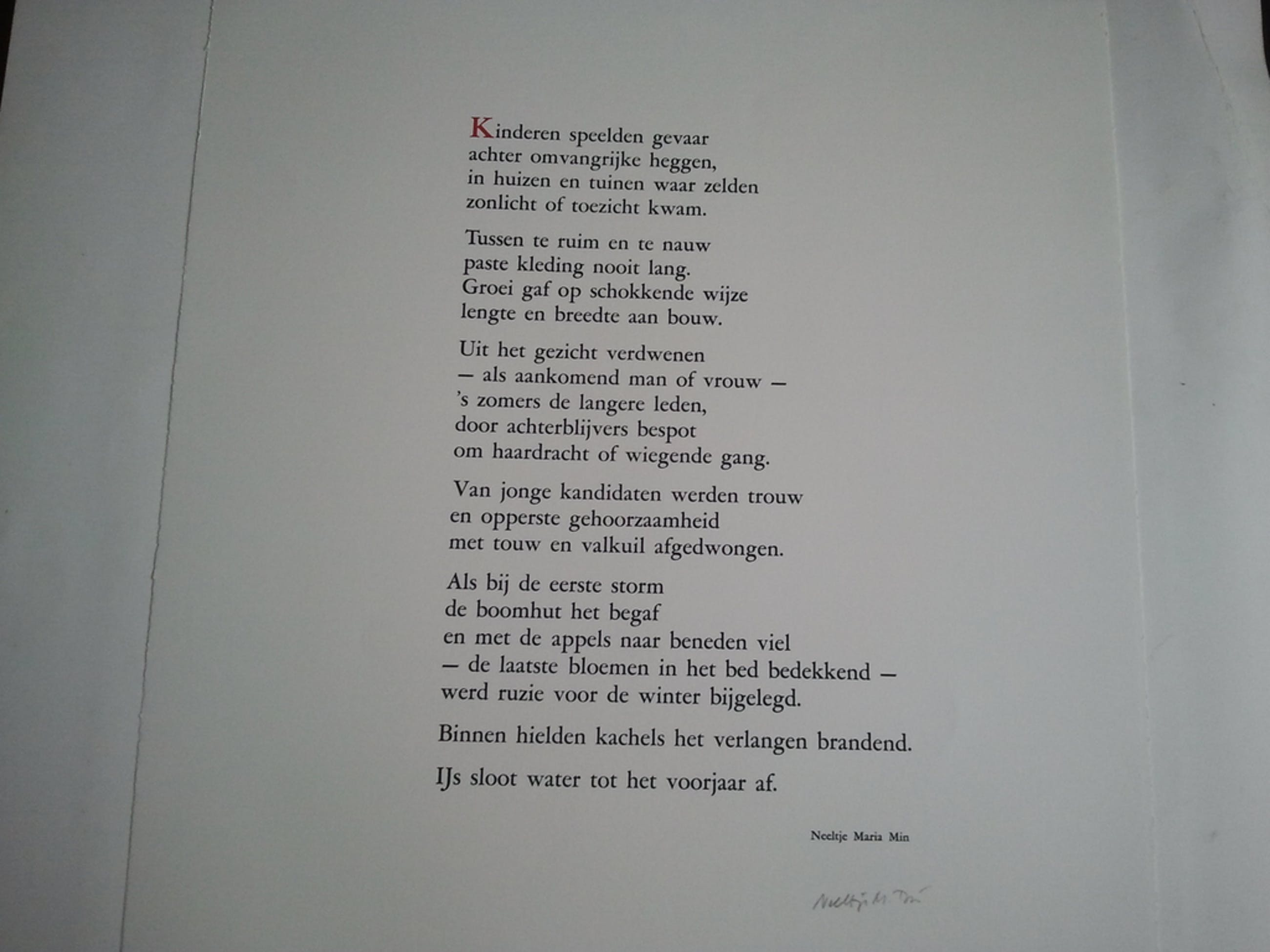 Neeltje Maria Min Gedicht Gesign Verkocht Bekijk De