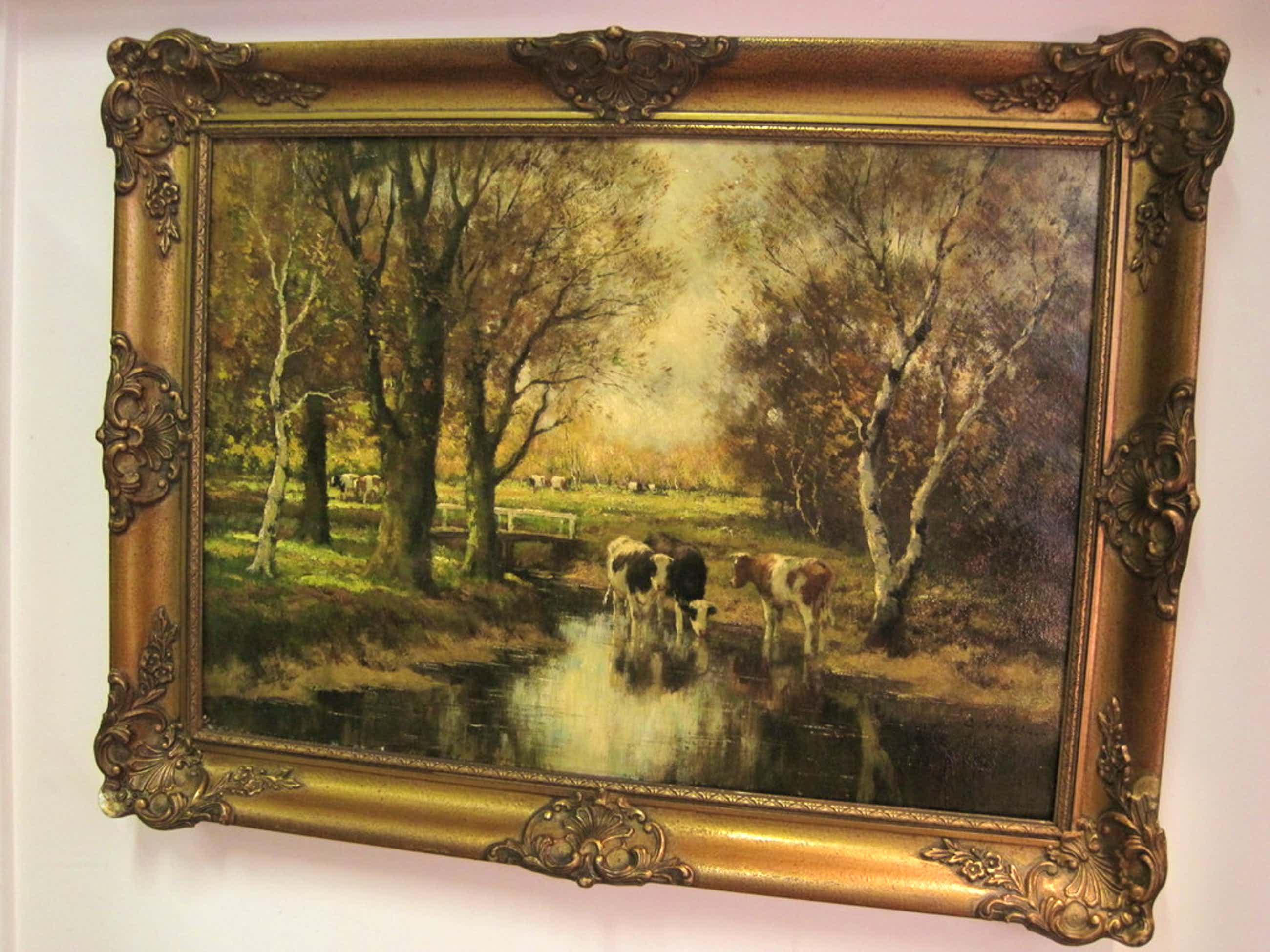 """Cor Bouter 1888-1966 """"drinkende koeien in zonnig landschap"""" ca. 1920 kopen? Bied vanaf 200!"""