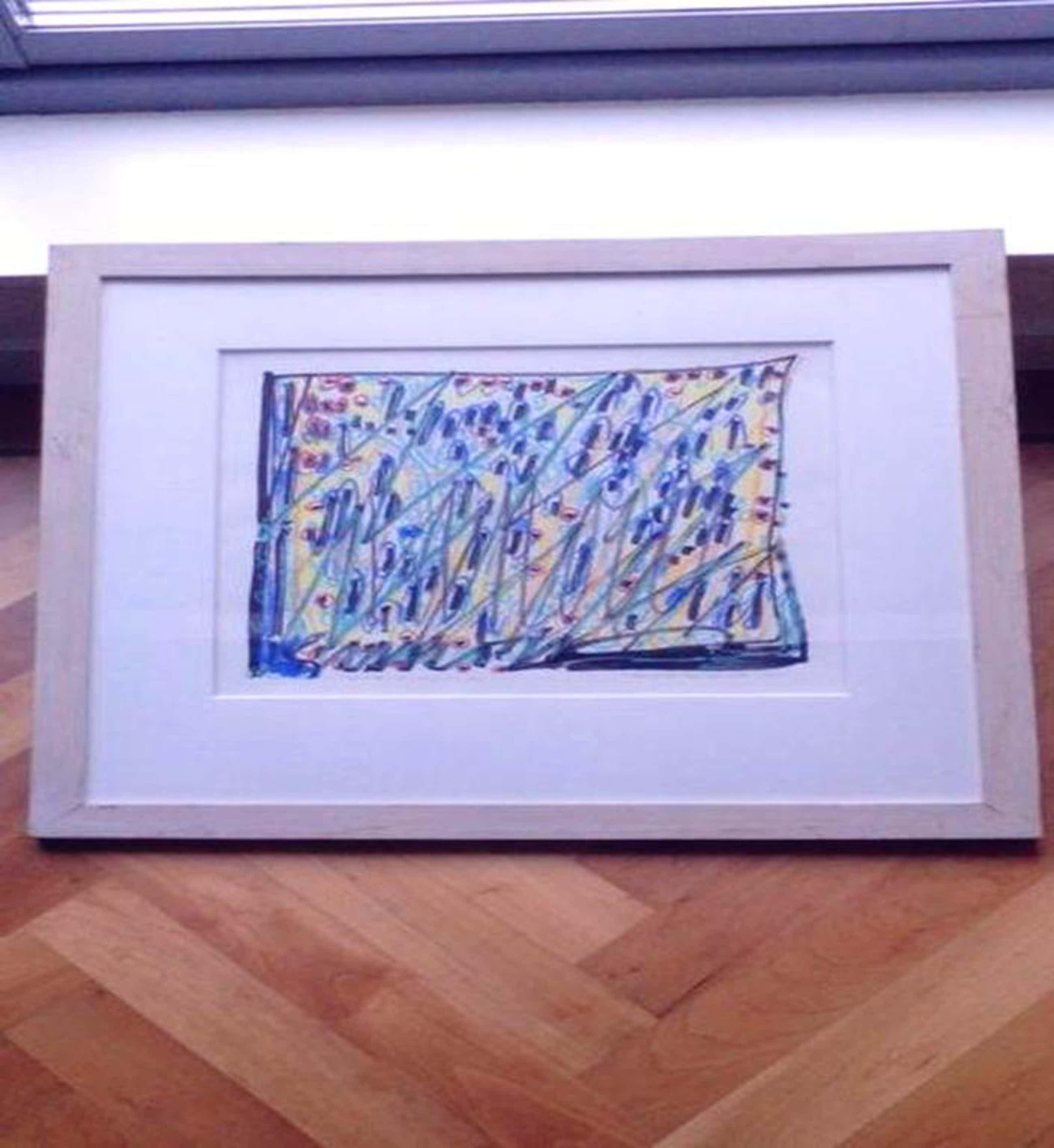 Simon Vinkenoog, pastelkrijt tekening op papier,1996, 61x61cm groot kopen? Bied vanaf 111!