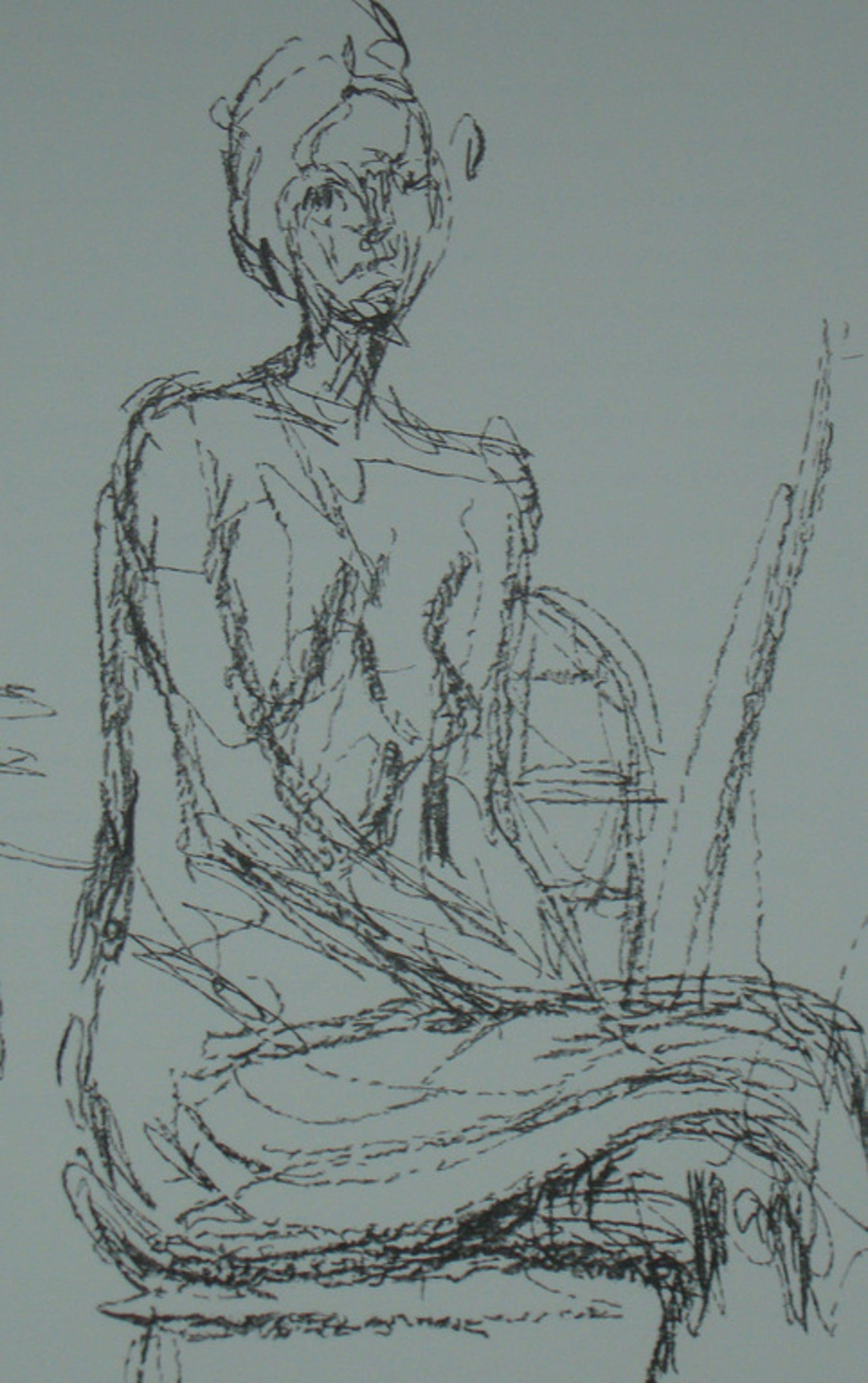 Alberto Giacometti: originele litho: model, zittend kopen? Bied vanaf 1!
