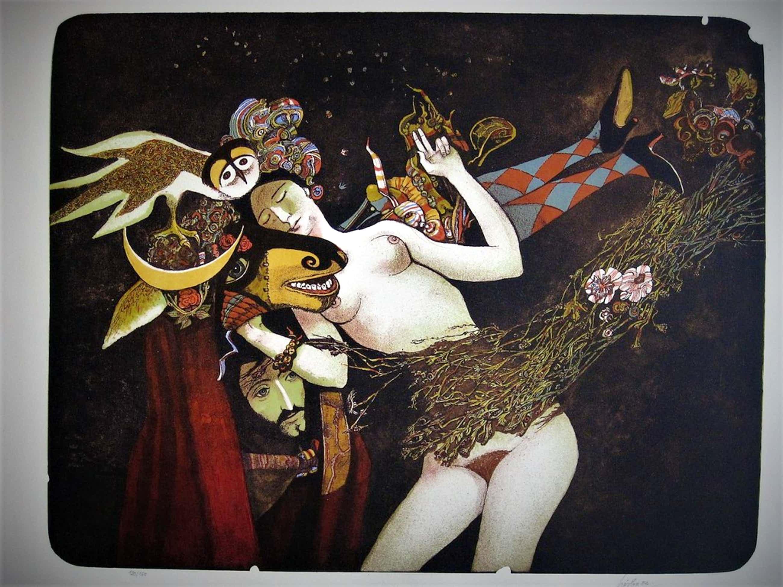 Fraai gesign. Litho van Tsjechisch surrealist Josef Liesler 1912-2005 kopen? Bied vanaf 135!