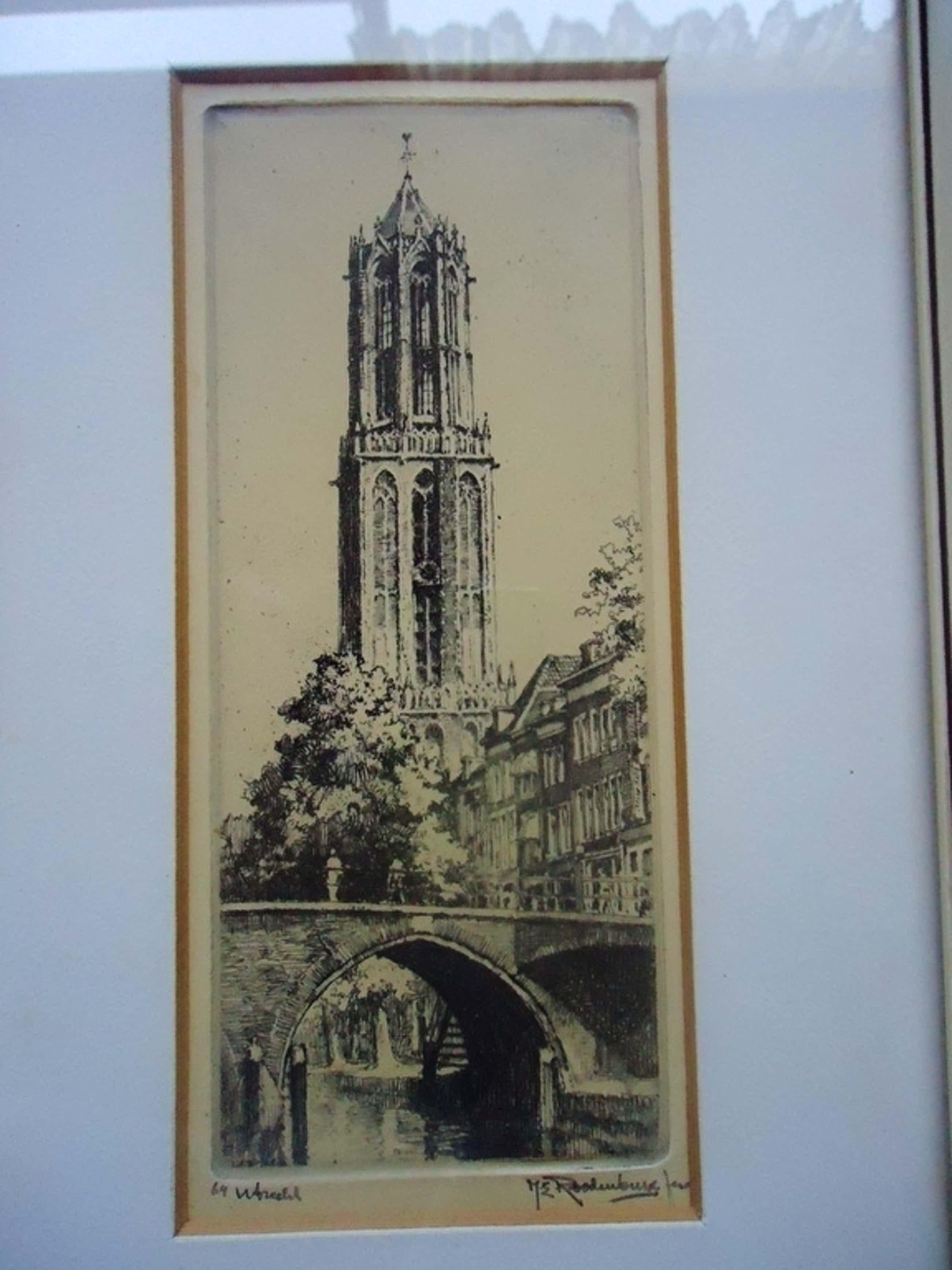 Lot van drie etsen H.E. Roodenburg (1895 - 1987) - Utrecht, Utrecht en Delft kopen? Bied vanaf 45!
