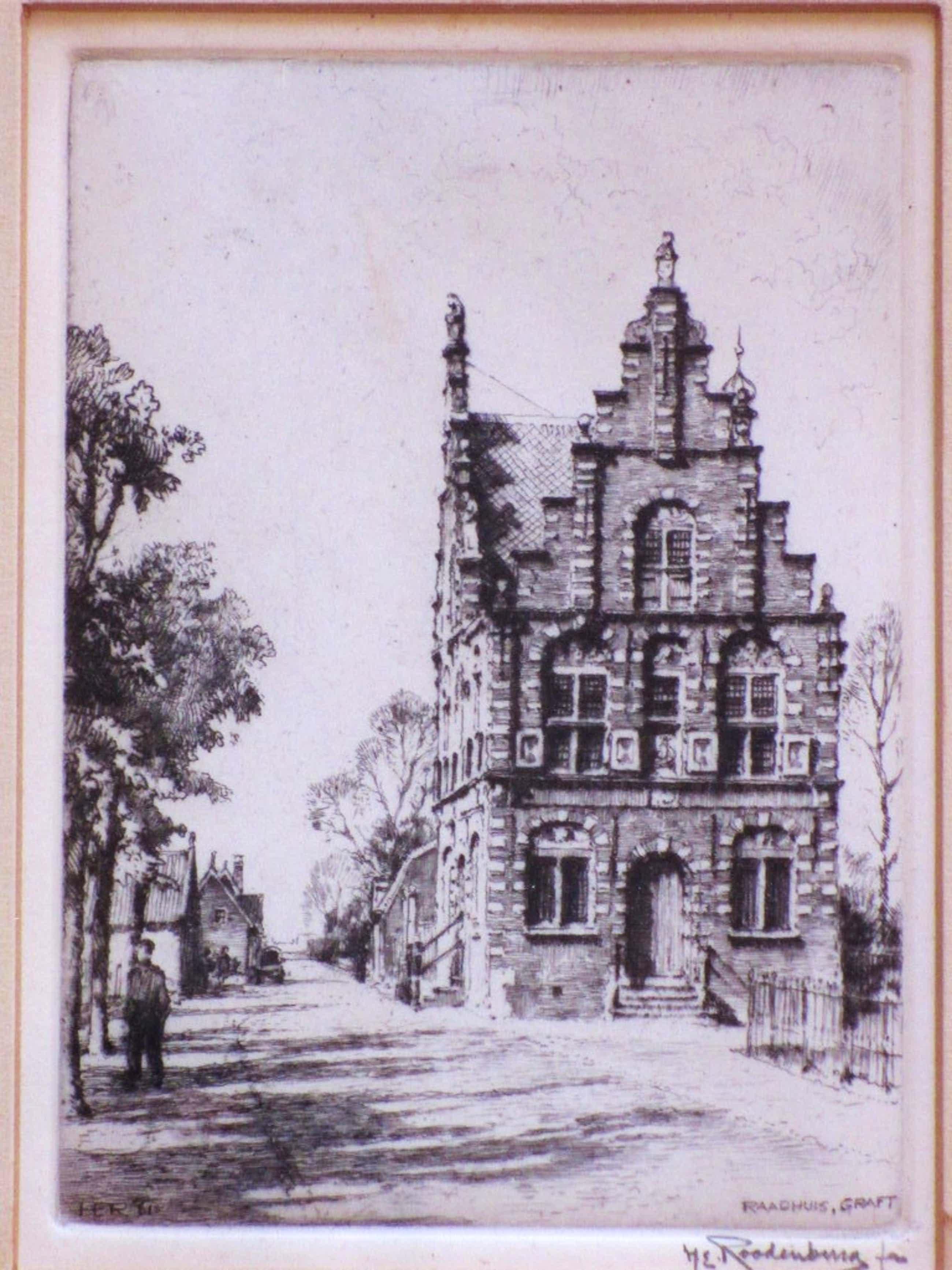 Hendrikus Roodenburg - Hendrik Roodenburg, Raadhuis Graft, Ets kopen? Bied vanaf 35!