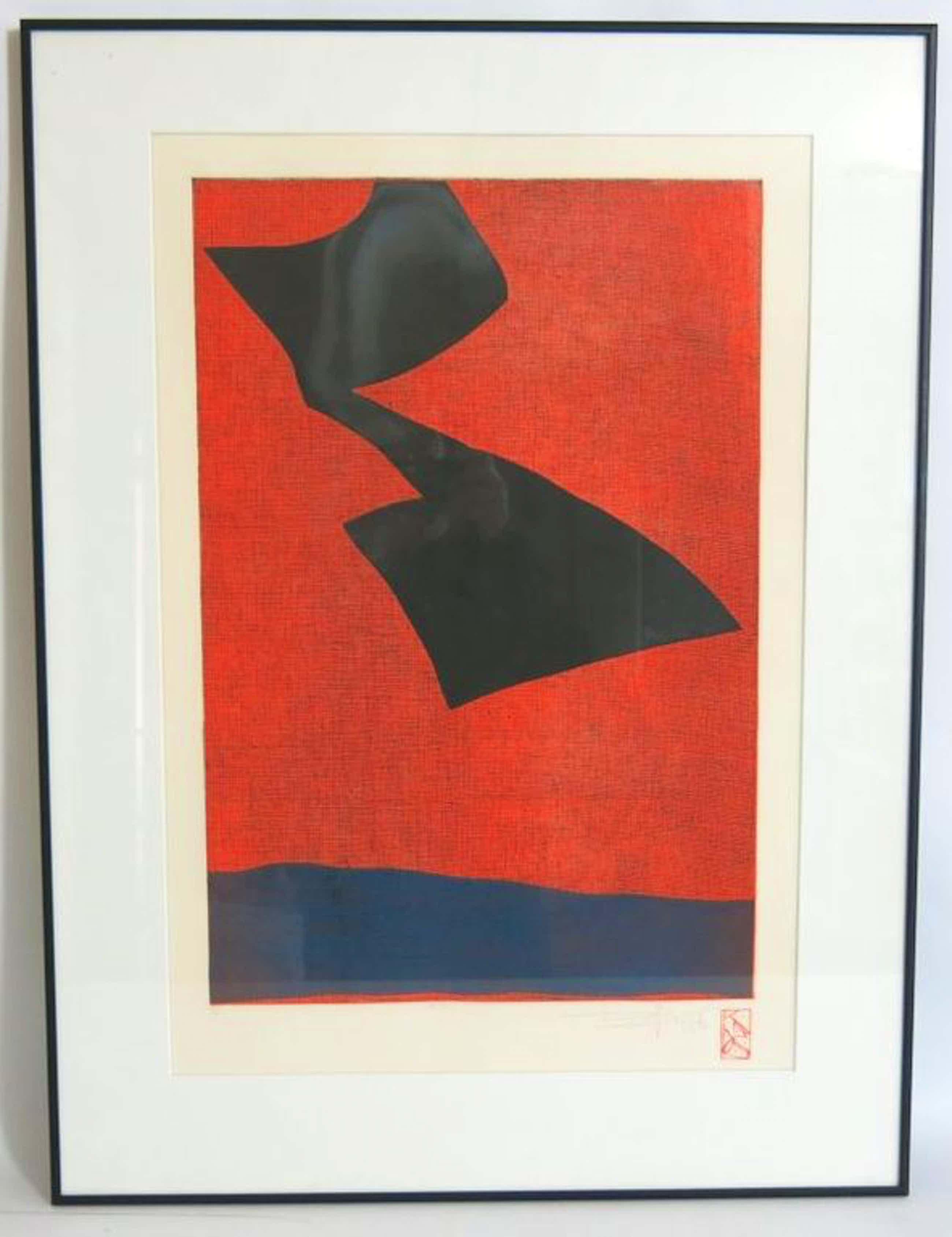 Koos van der Sluys, ets op handgeschept papier: Compositie zwart op rood - ingelijst kopen? Bied vanaf 40!