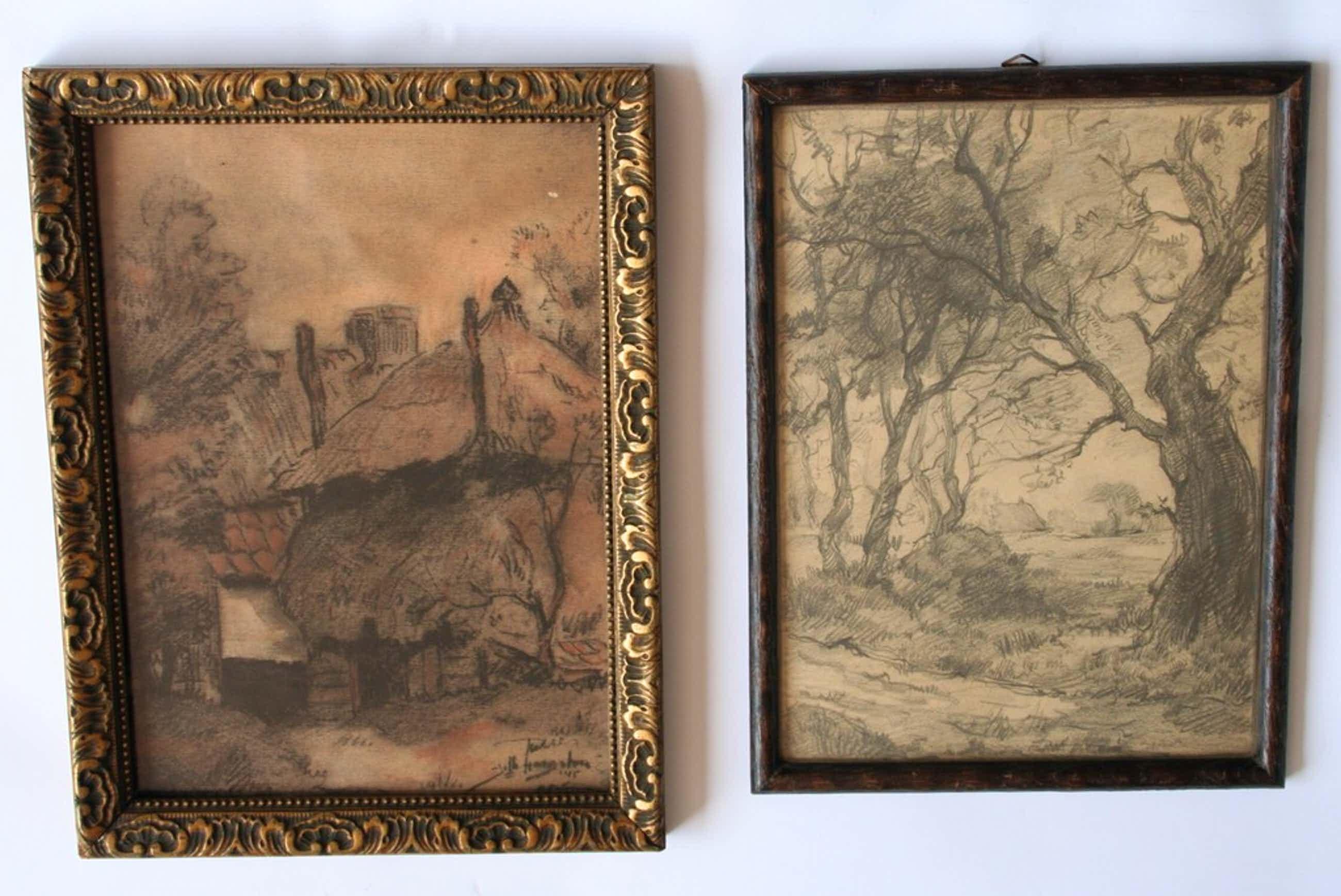 Jelle Hoogstra, twee tekeningen, één houtskool met pastel en één potlood kopen? Bied vanaf 40!