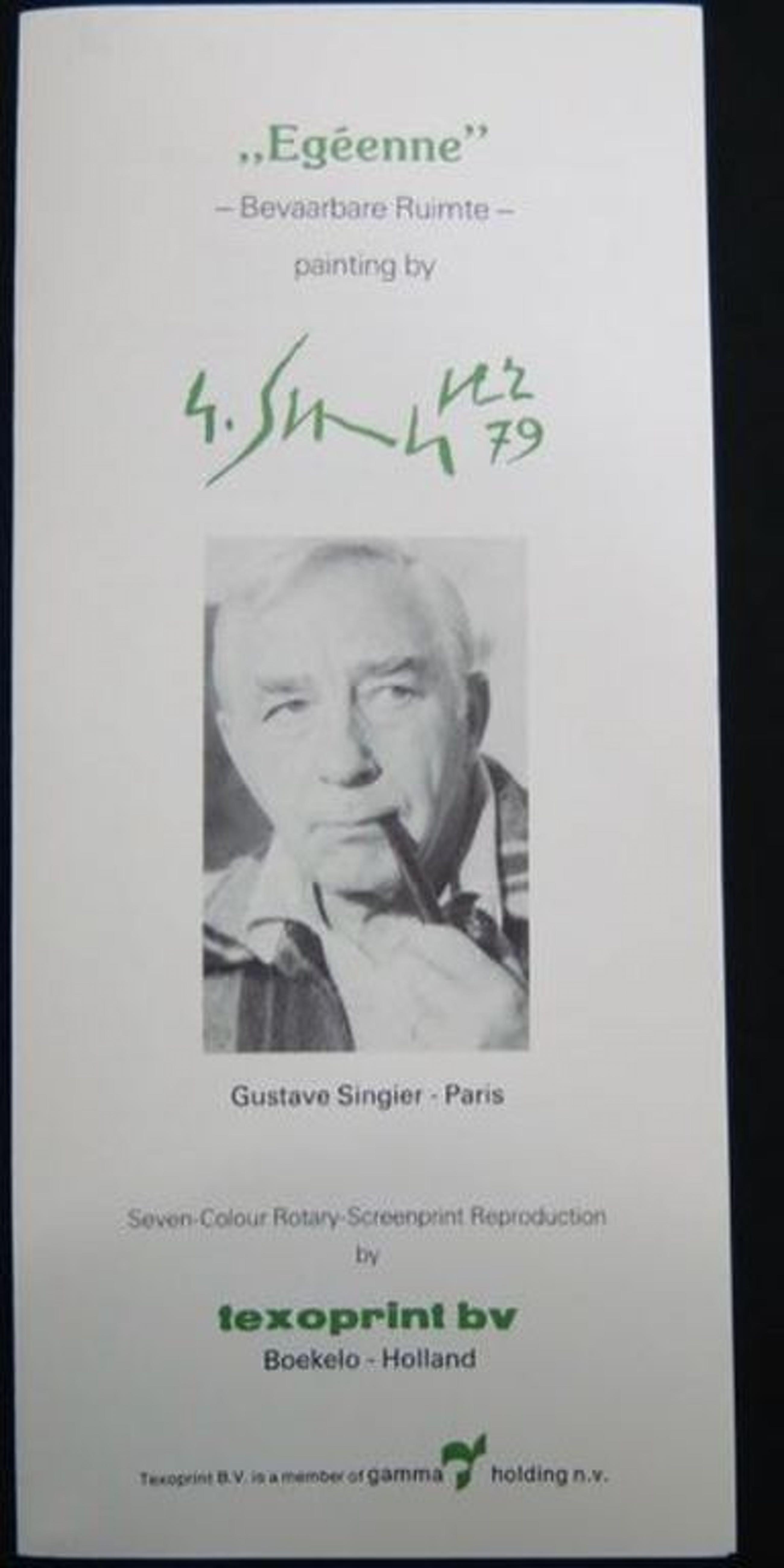 Gustave Singier: Zeefdruk op katoenzijde, Egeenne / Bevaarbare ruimte kopen? Bied vanaf 20!