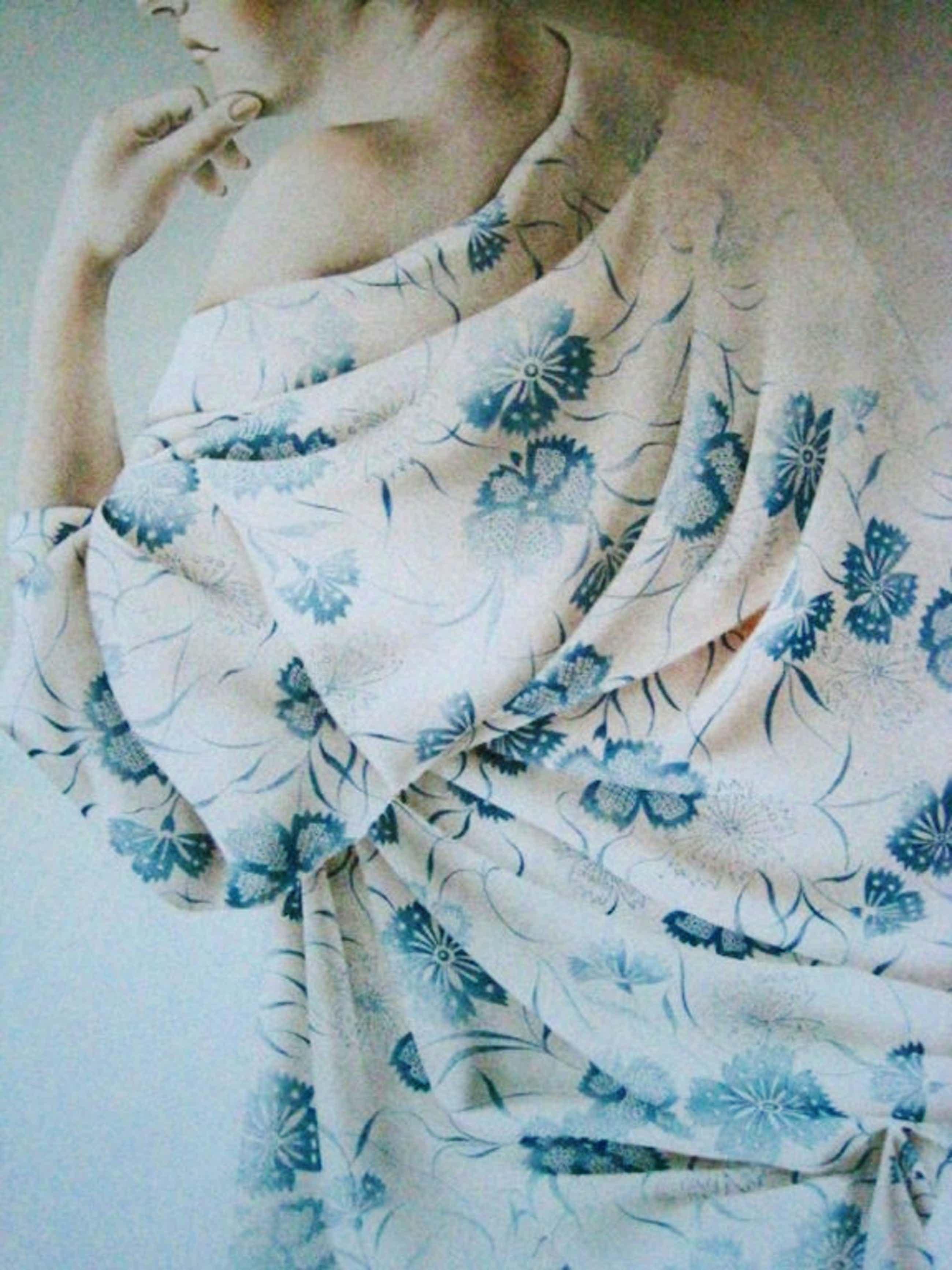 """Groot Realistisch grafiek Poen de Wijs 1948-2014) Lithografie """"Vrouw in Kimono"""" kopen? Bied vanaf 85!"""
