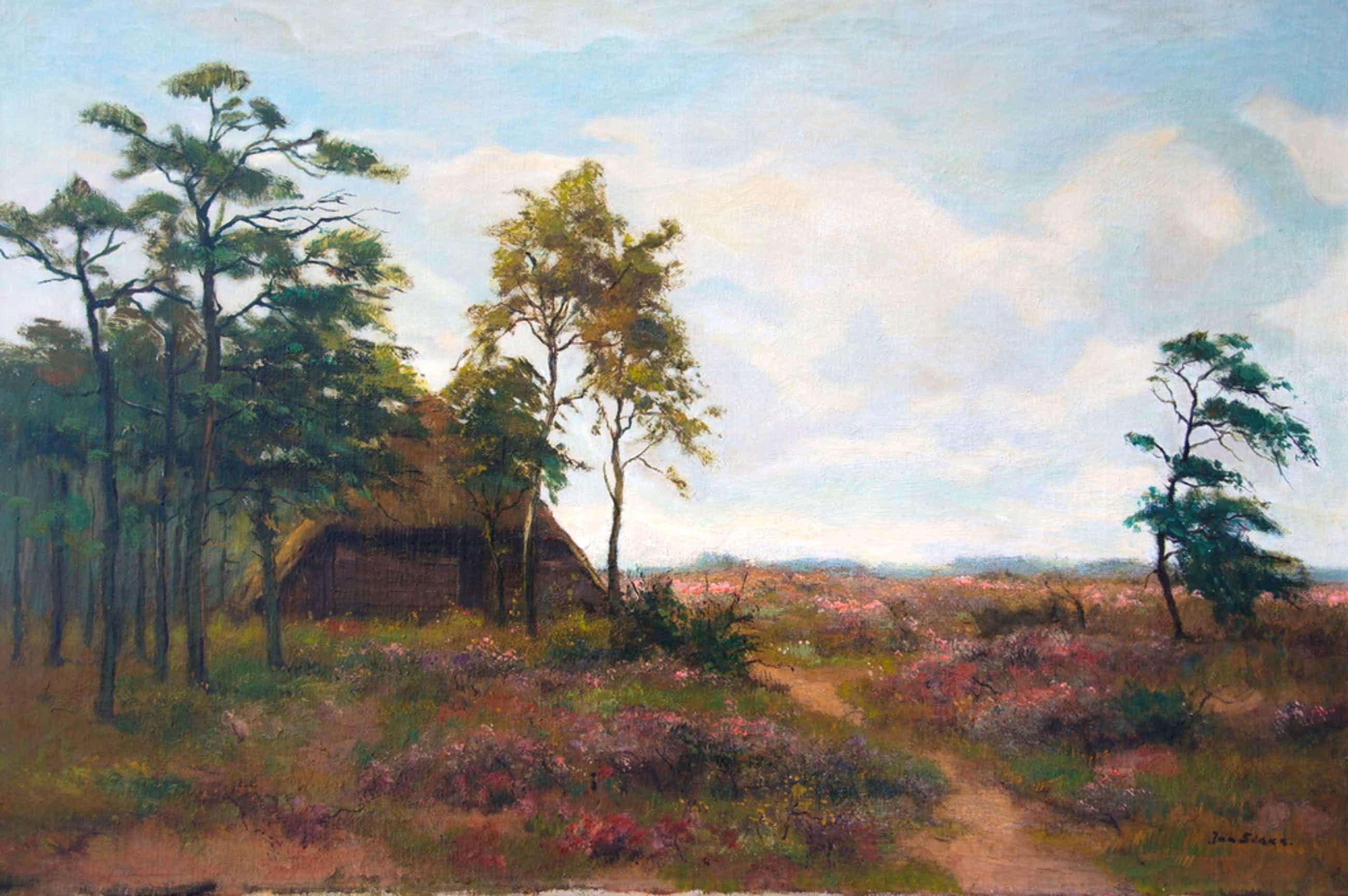 Jan Sirks : olieverfschilderij , landschap bosrand  kopen? Bied vanaf 110!