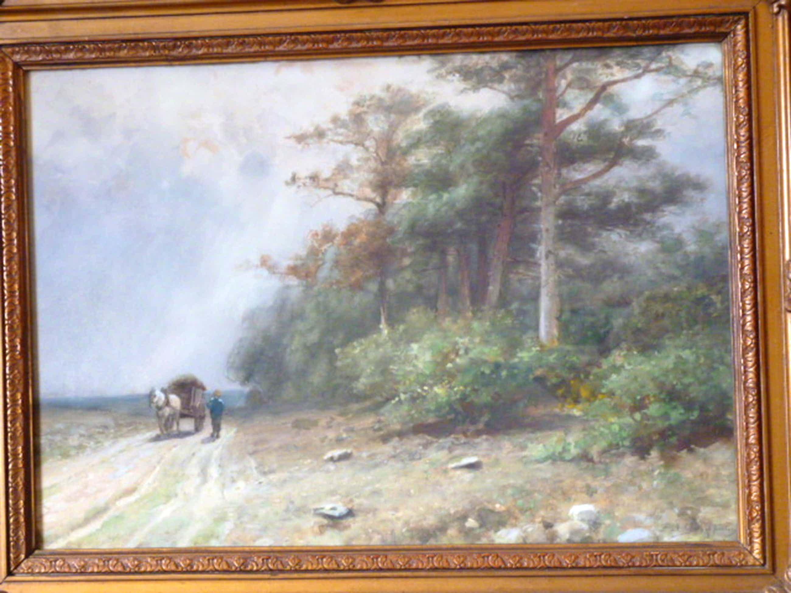 Piet Schipperus - aquarel - Boer met kar op landweg kopen? Bied vanaf 295!