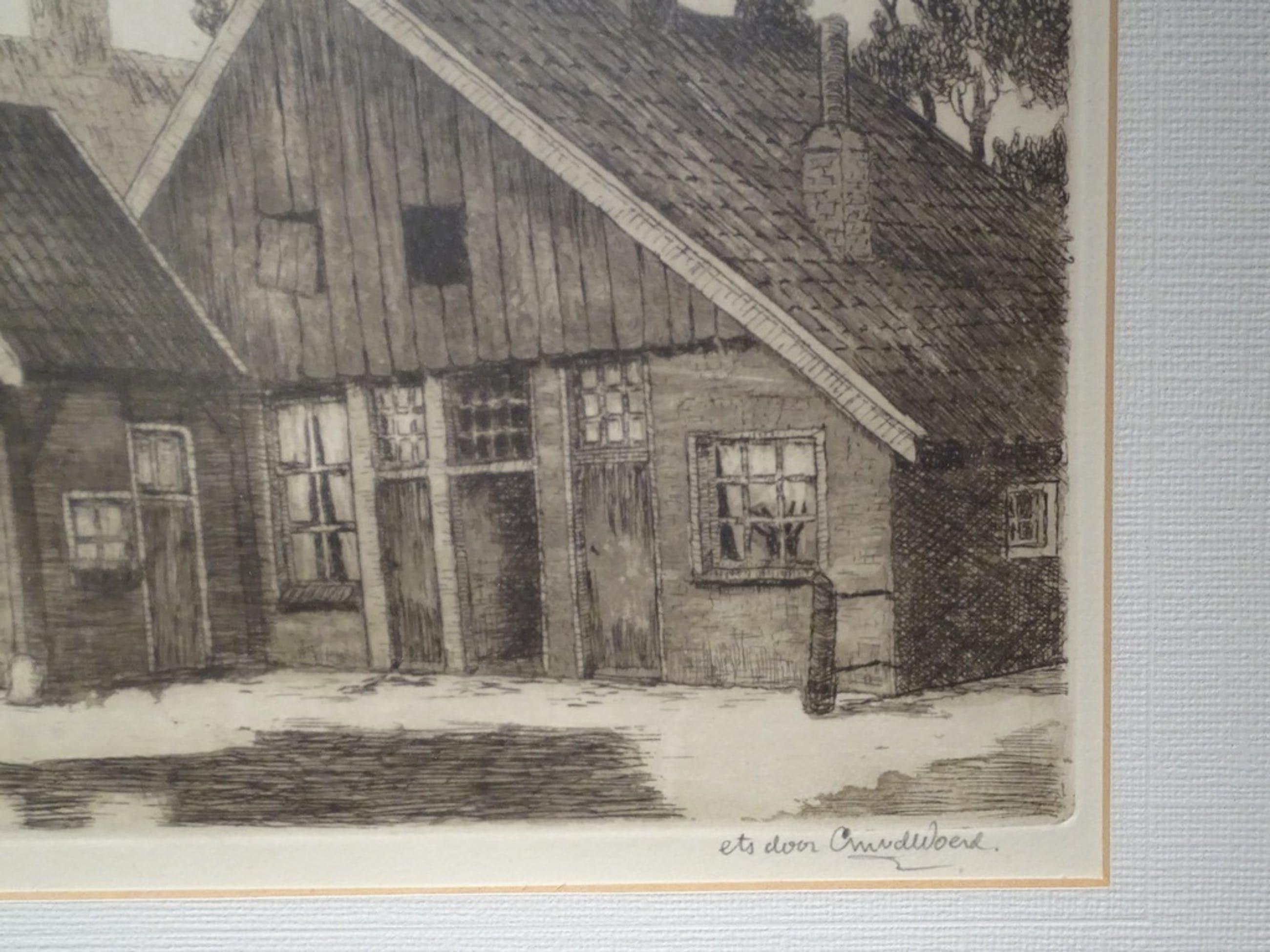 Cor van der Woerd (1901-1994) --  Ets  -- Oud pothuuske uit Hengelo (O) kopen? Bied vanaf 30!