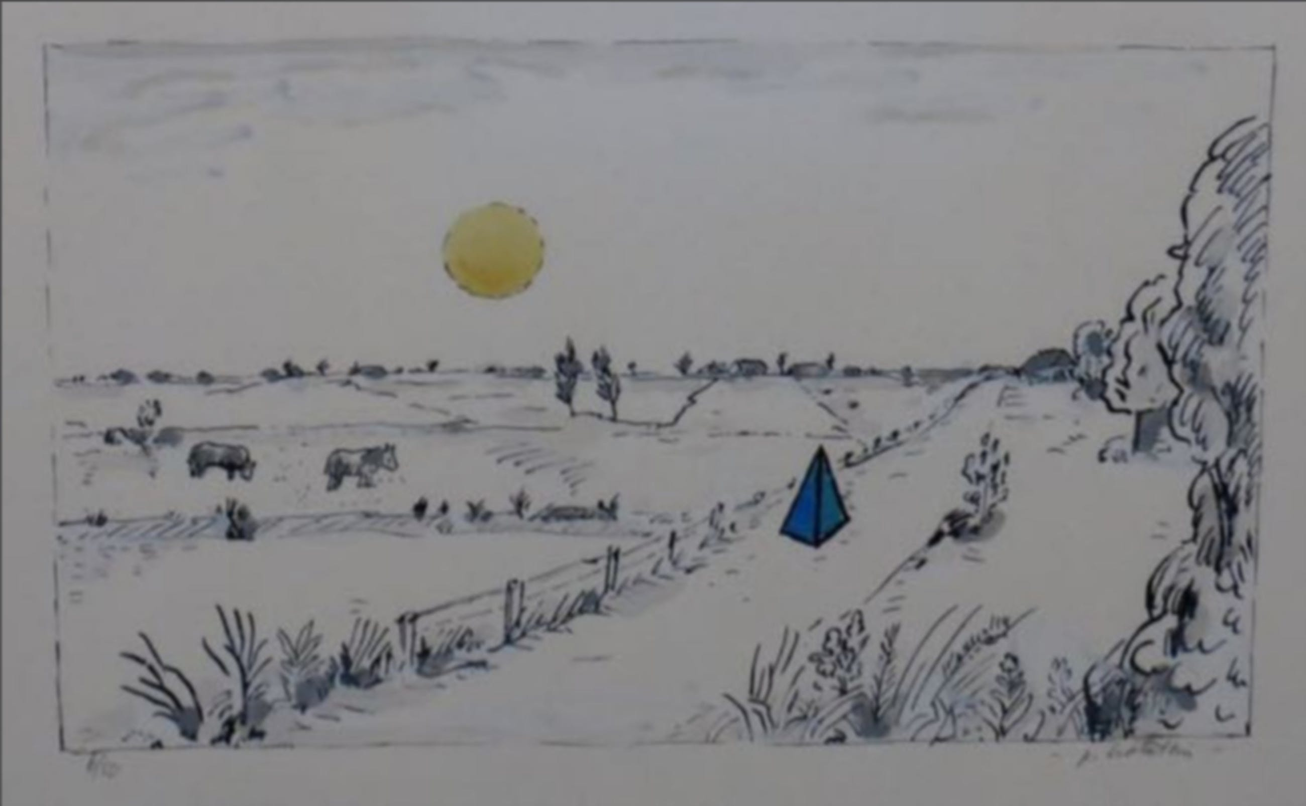 Pieter Holstein: Handgekleurde ets, Landschap met blauwe piramide kopen? Bied vanaf 1!