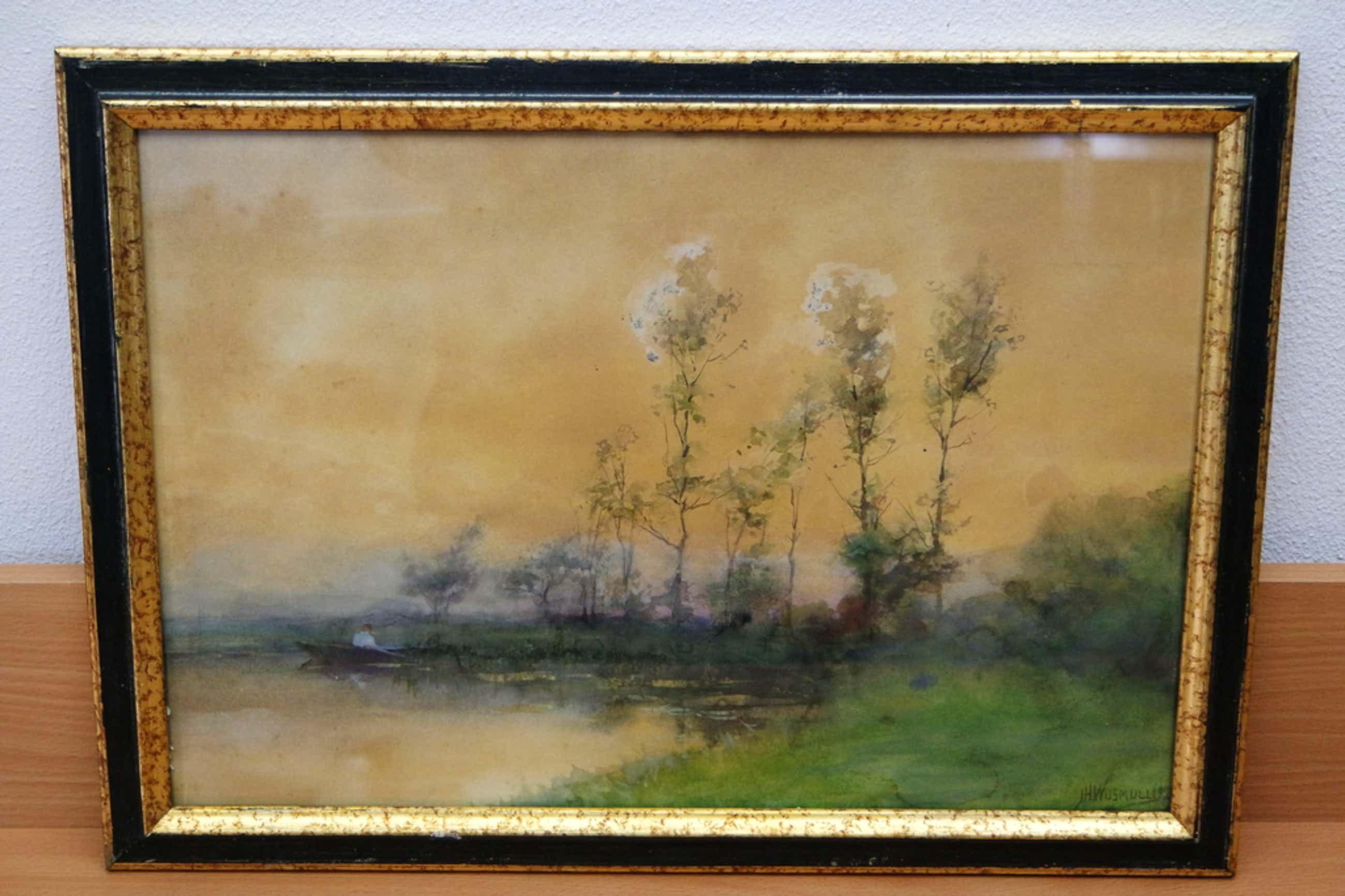 Jan Hillebrand Wijsmuller (1855-1925) - aquarel - waterrijk landschap kopen? Bied vanaf 170!