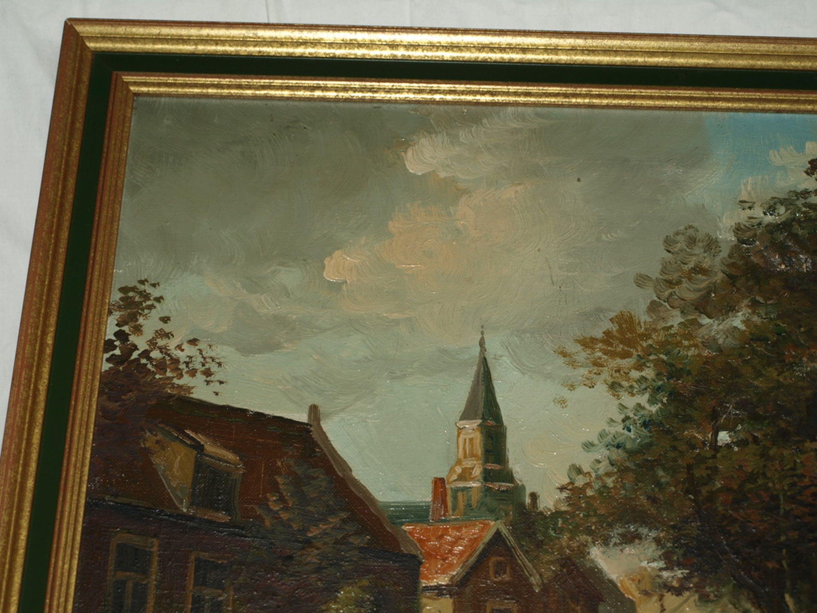 J.H.P. Hoppe - Olieverf op doek – Dorpsgezicht – Gesigneerd & ingelijst kopen? Bied vanaf 50!