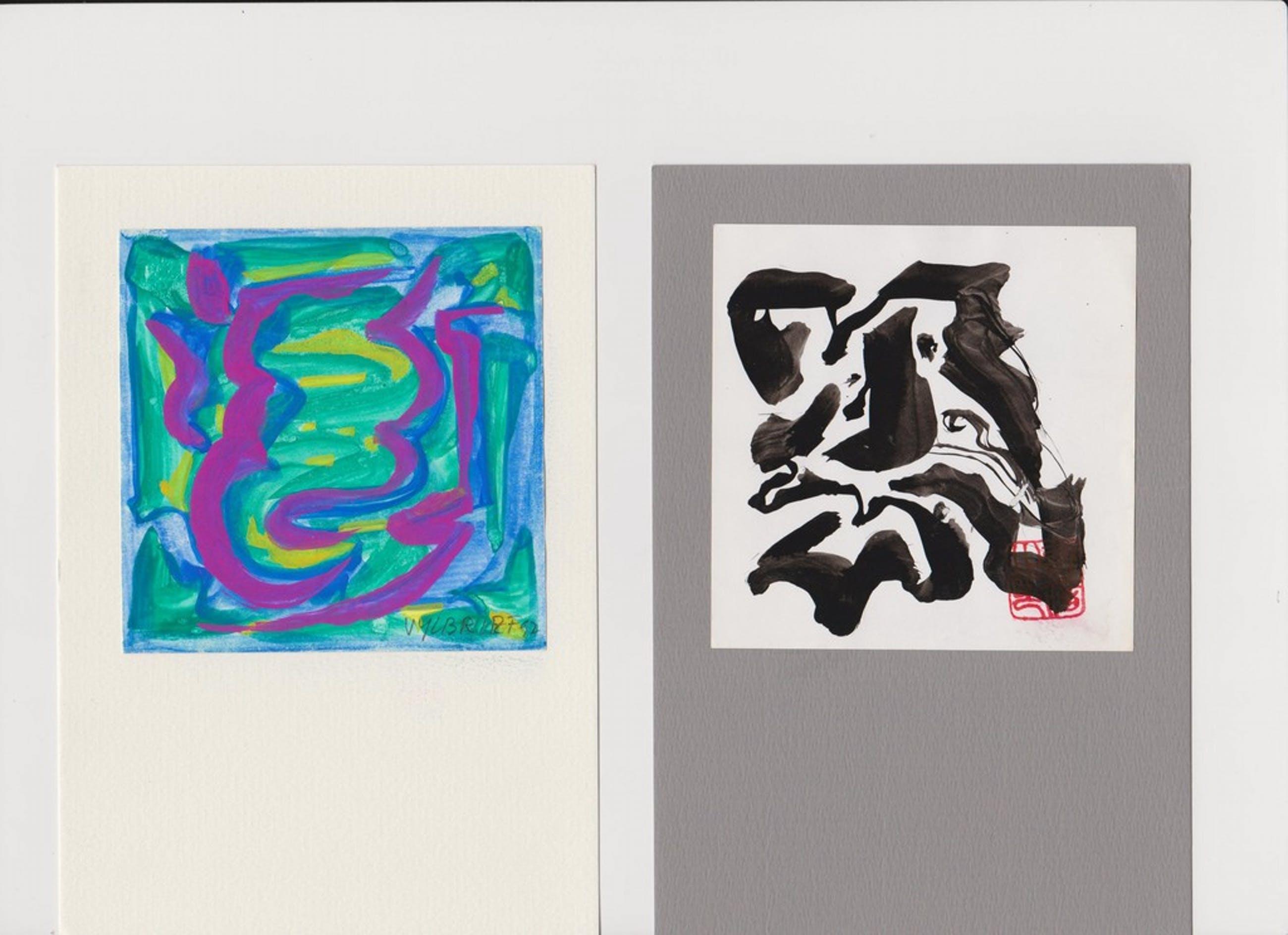 Ernst Vijlbrief (1934-2010) 2 tekeningetje geplakt op karton kopen? Bied vanaf 25!