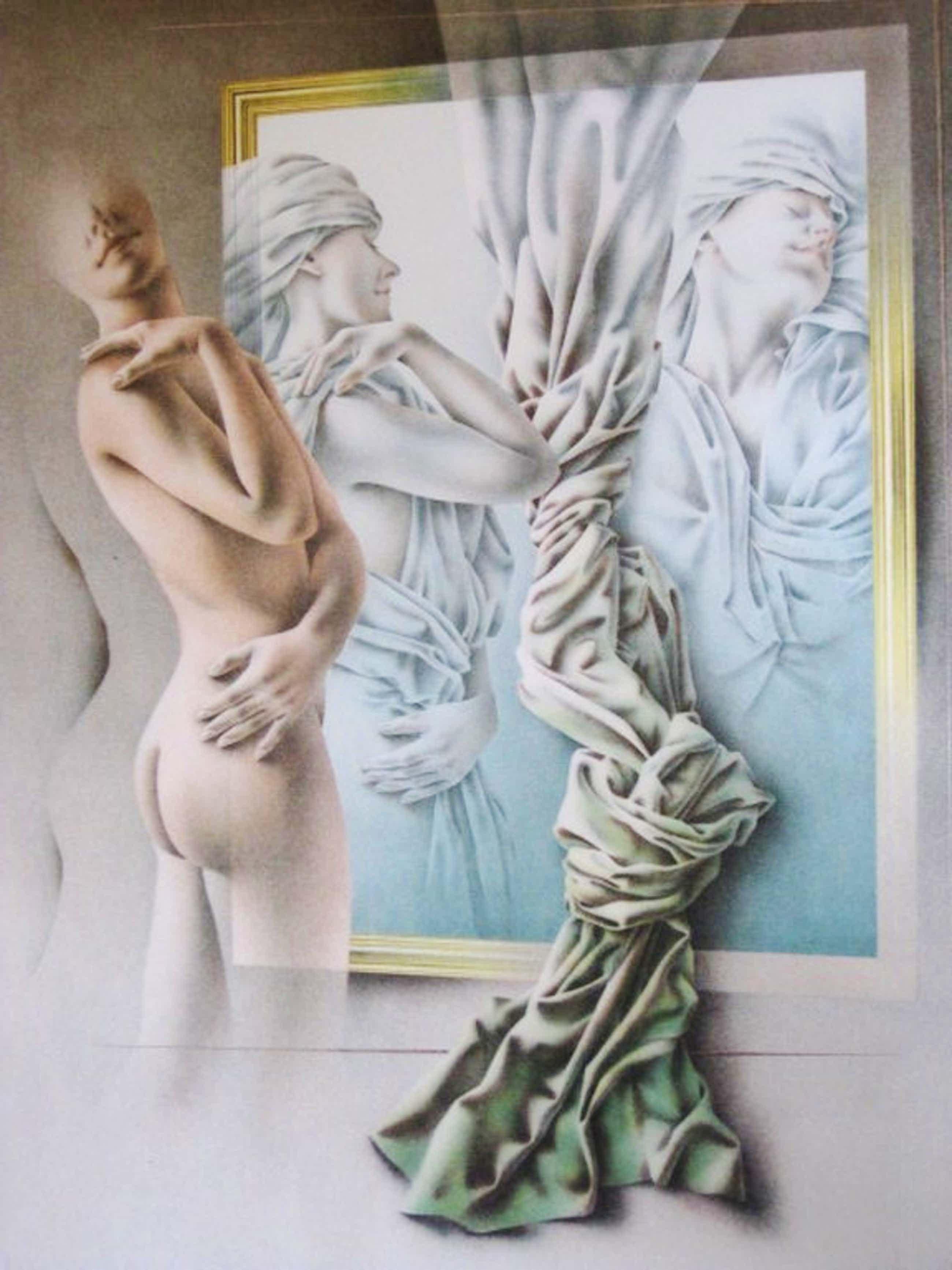 """Groot Realistisch grafiek Poen de Wijs 1948-2014) Lithografie """"Vrouw """" kopen? Bied vanaf 81!"""