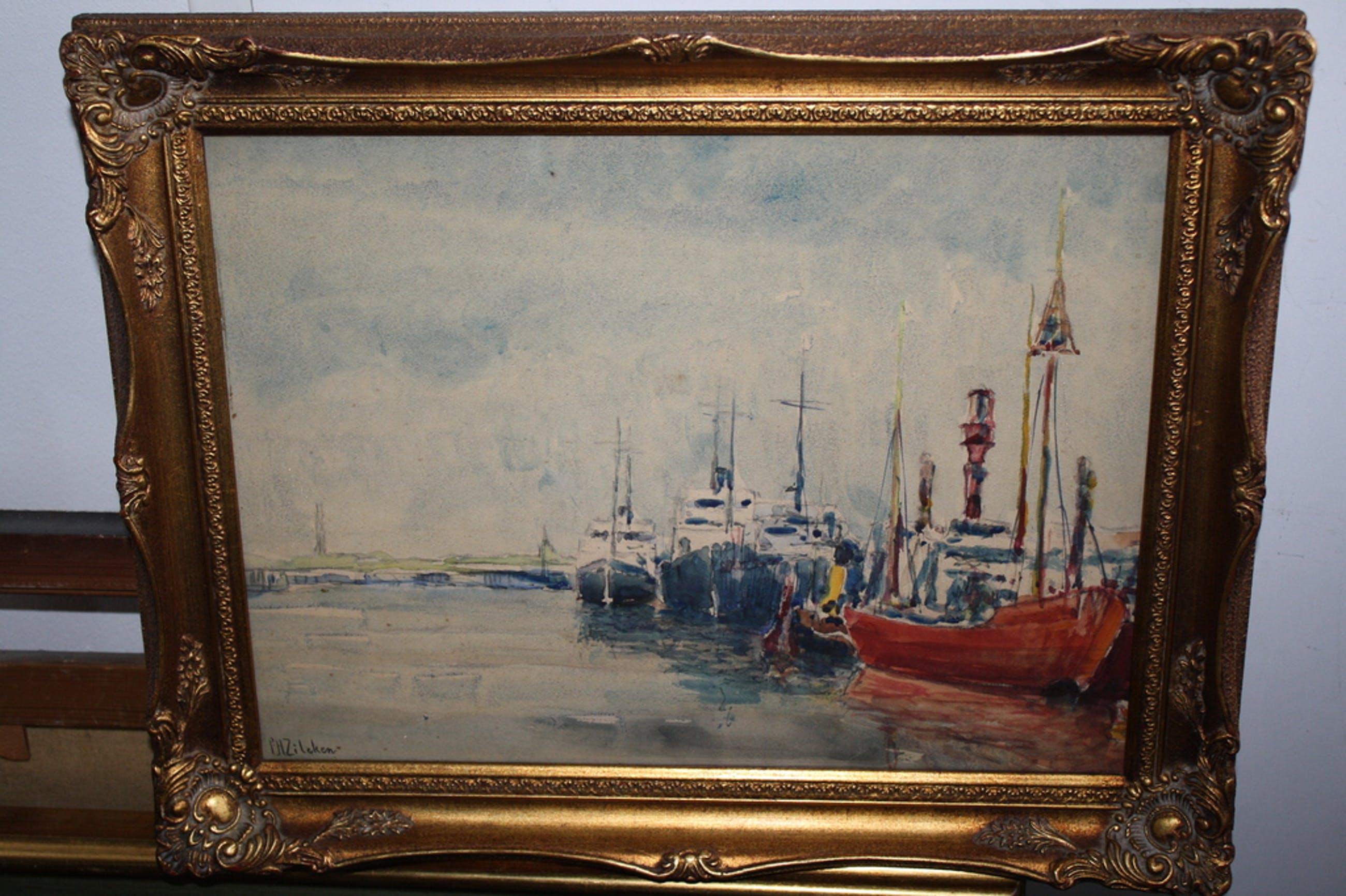 Philip Zilcken  - aquarel boten in haven 1910 kopen? Bied vanaf 90!