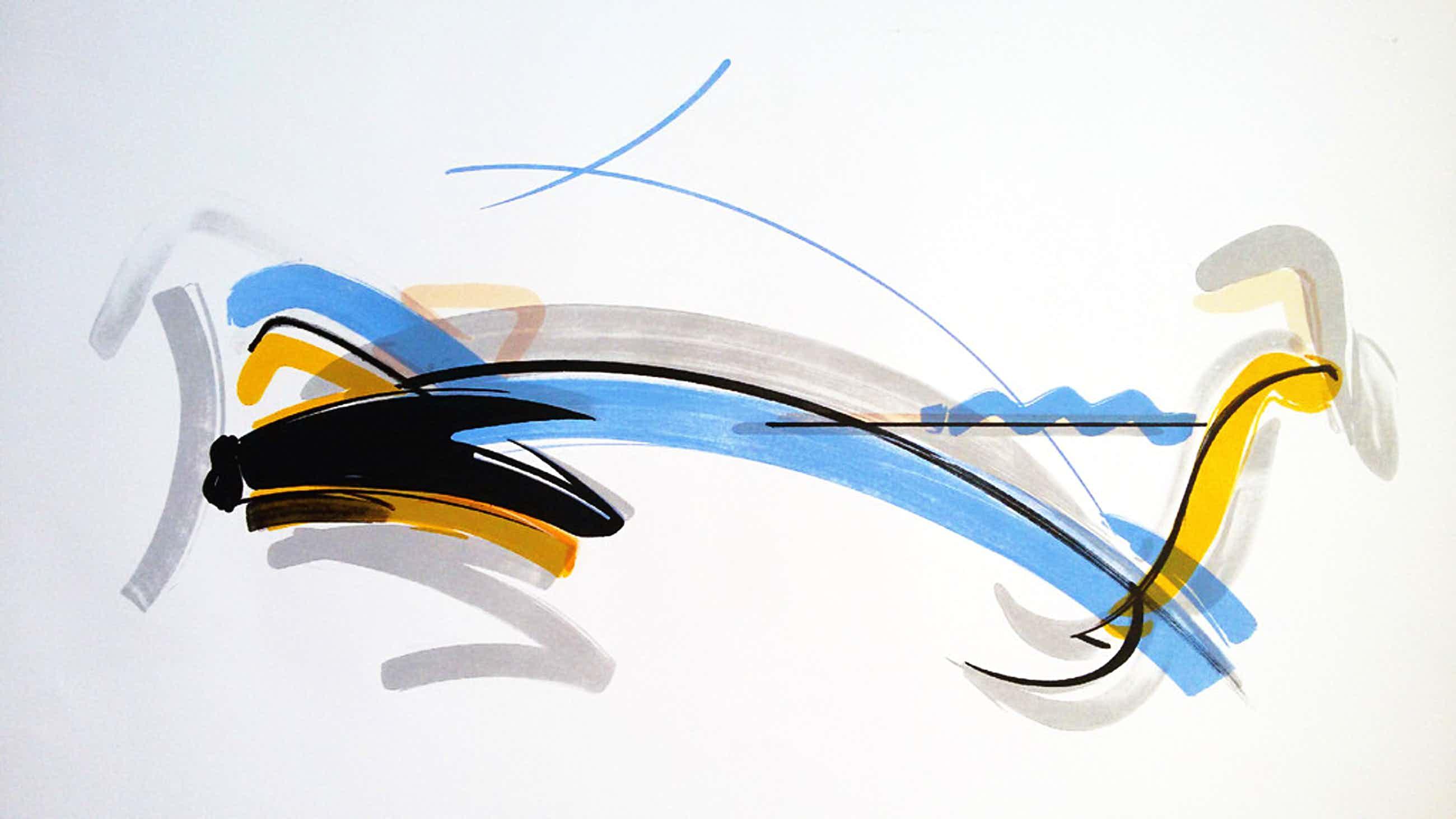 Peter van Drumpt - Abstracte compositie, litho kopen? Bied vanaf 35!