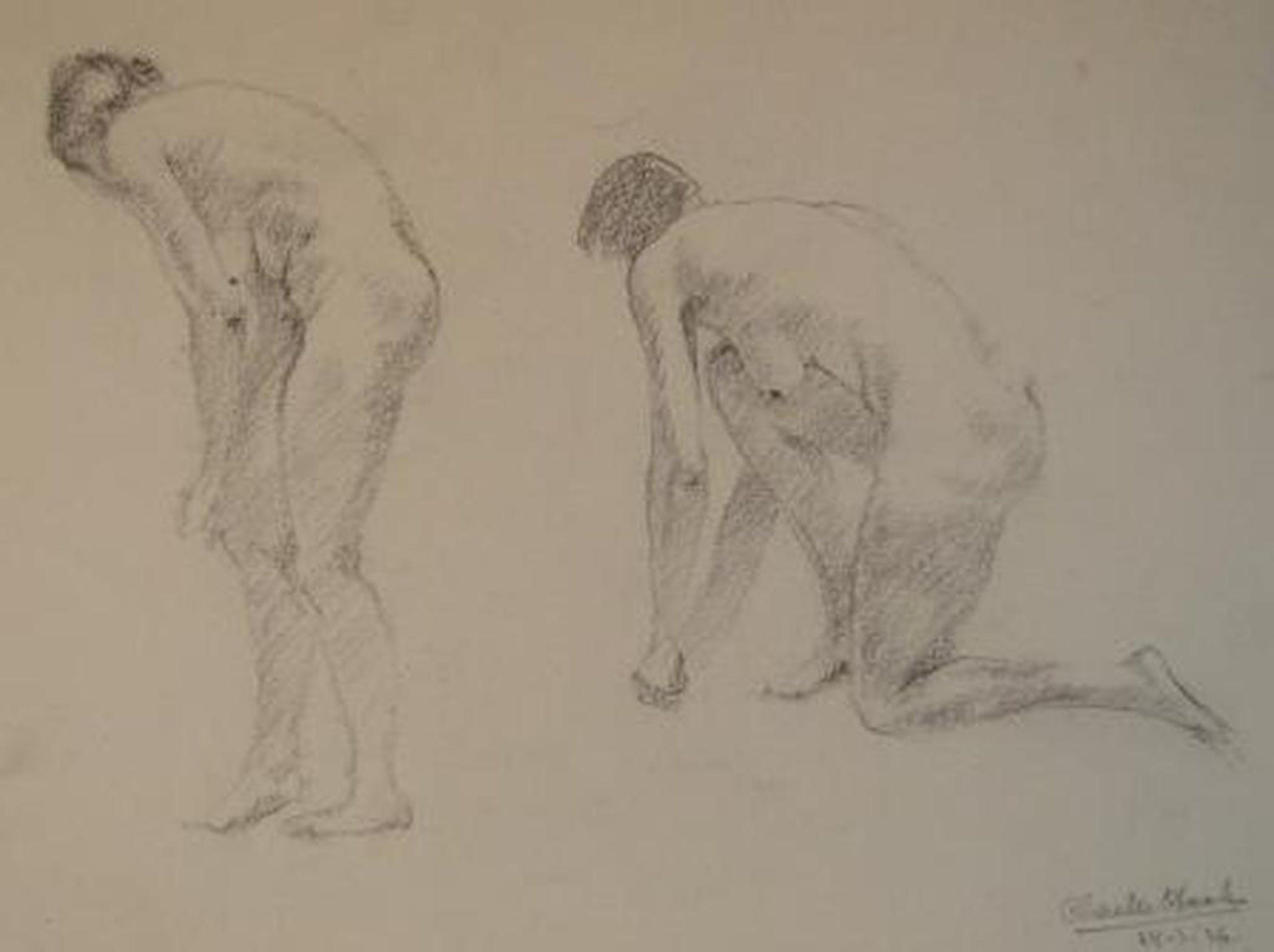 Charles Haak, studie-tekening naakt 1936  kopen? Bied vanaf 20!