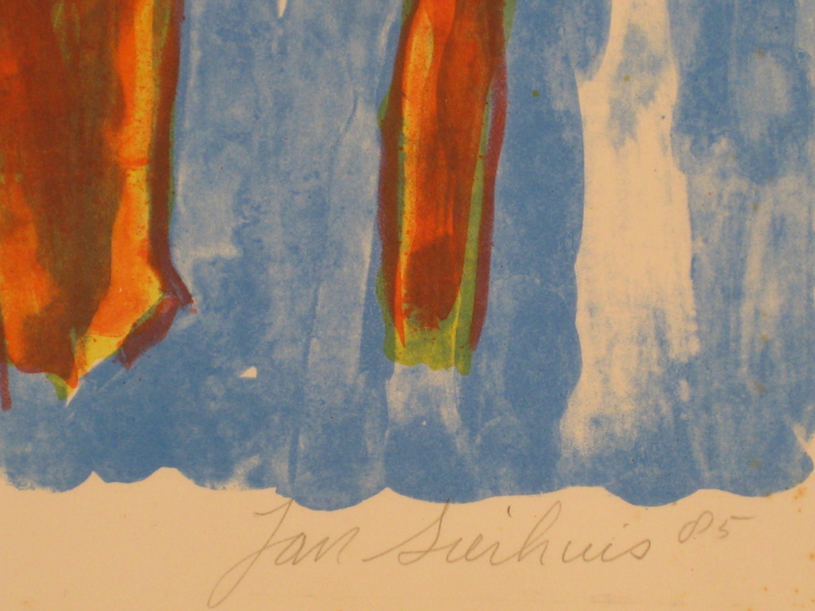Jan Sierhuis (1928). Kleurenlitho. Wapperende bomen (1985). kopen? Bied vanaf 1!