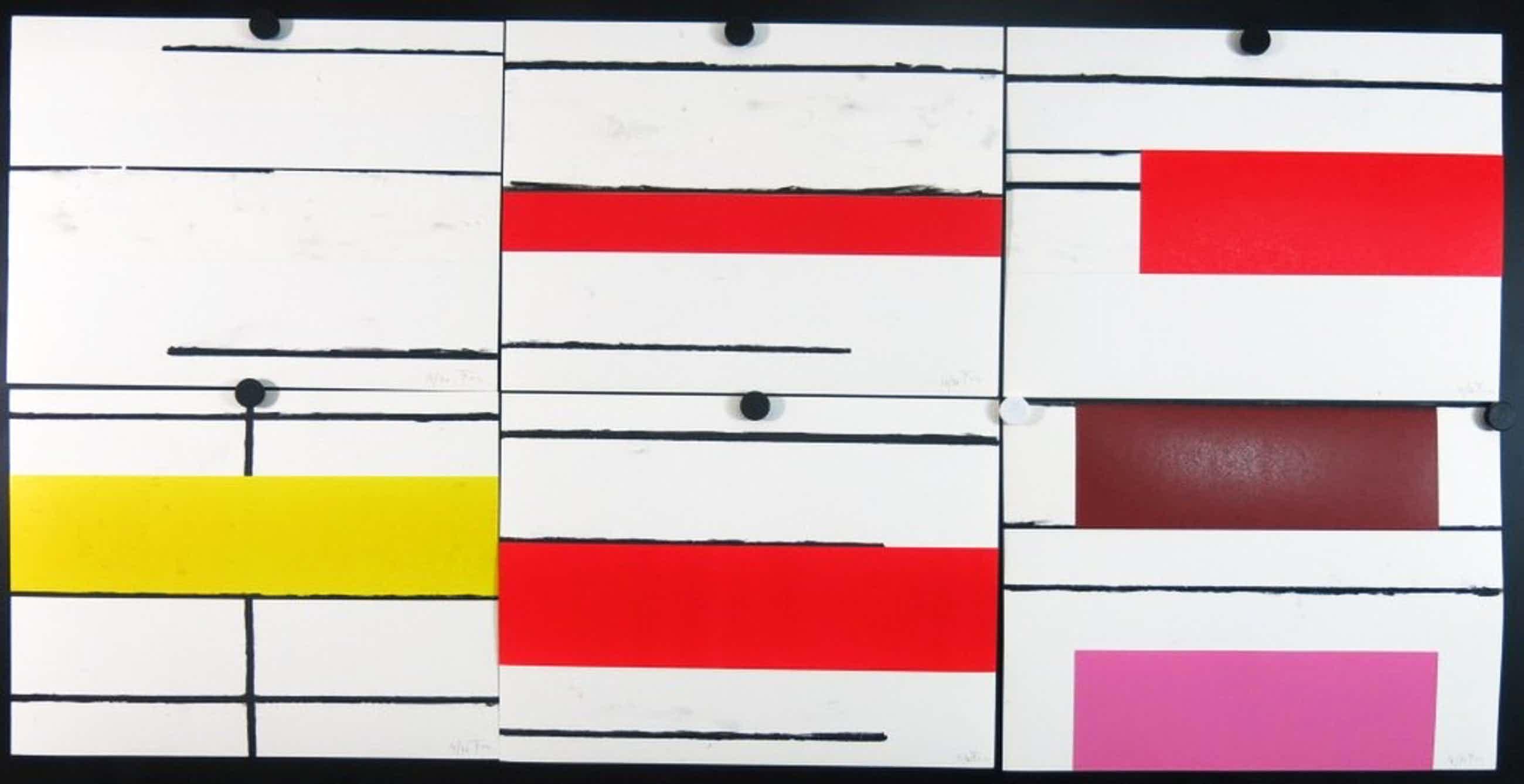 Piet Tuytel: 6x Litho en collage (set), Abstracte compositie kopen? Bied vanaf 360!