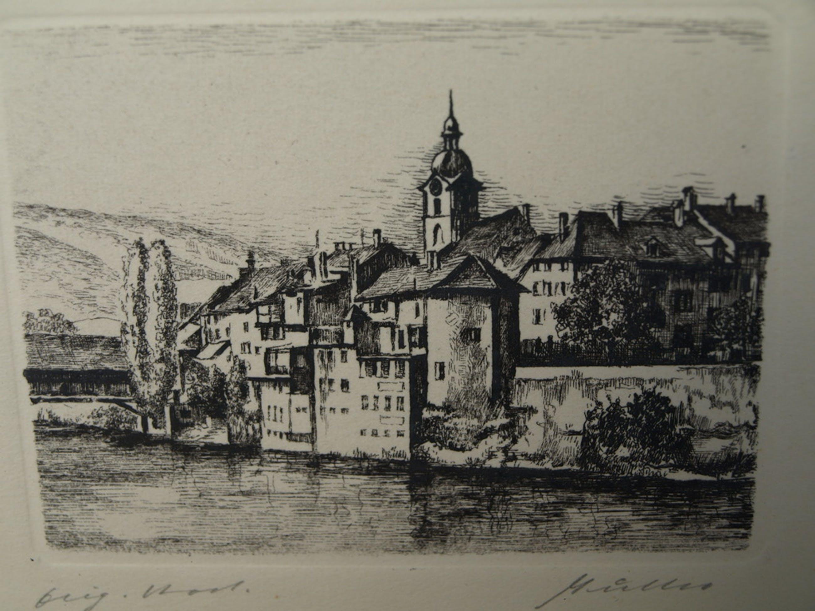 MÜLLER – Ets – Olten in Zwitserland – Gesigneerd en ingelijst – ca 1960 kopen? Bied vanaf 1!