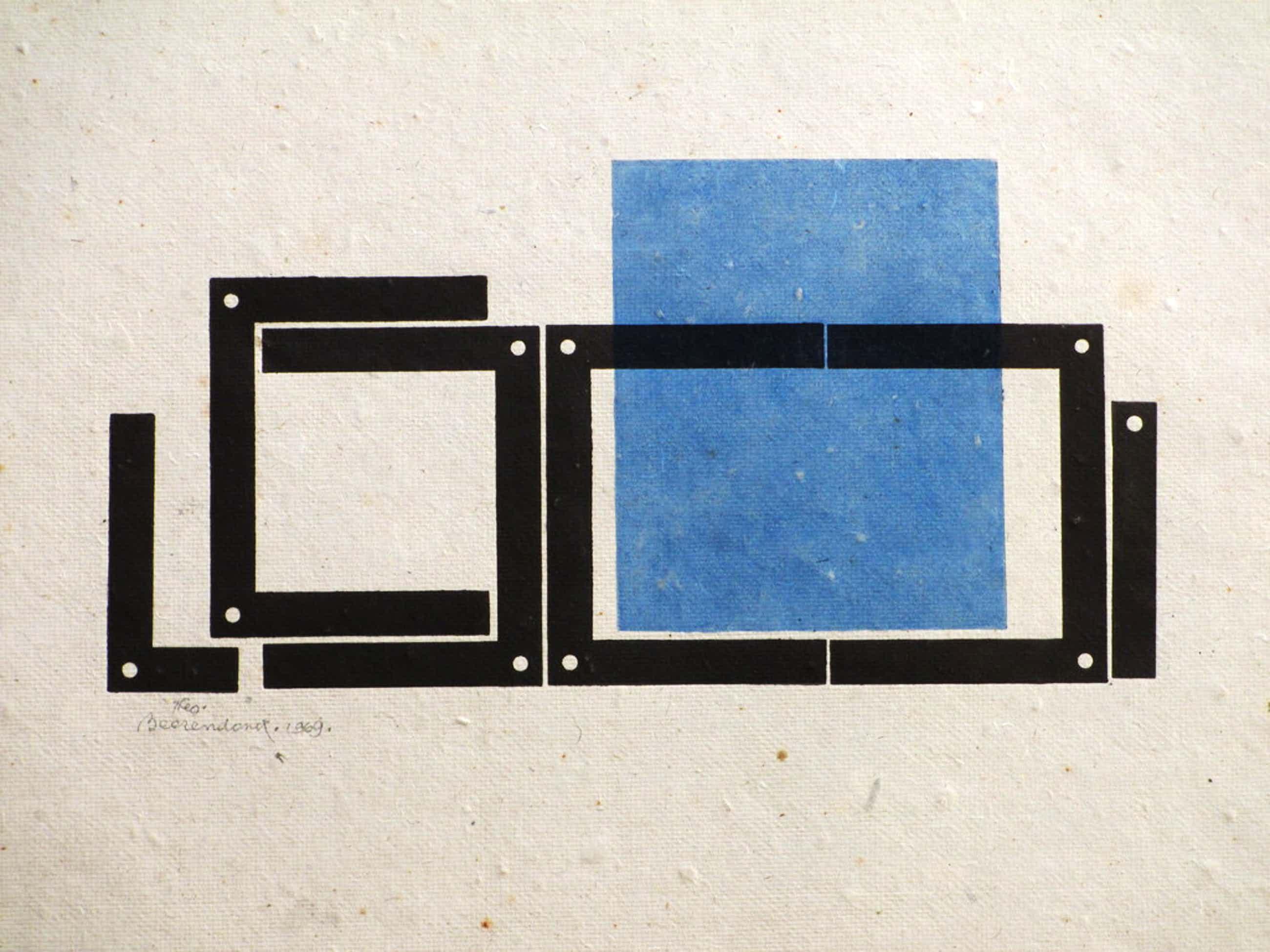 Theo Beerendonk - Theo Beerendonk, Geometrische voorstelling in zwart/blauw, Diepdruk kopen? Bied vanaf 45!