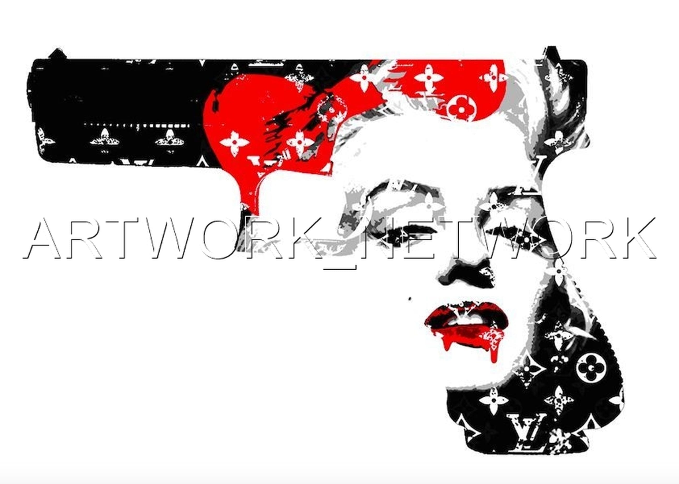 """Large Print Painting """"Monroe Gun Red"""" Signed Numbered A/P or 1 to 100 with COA kopen? Bied vanaf 1!"""