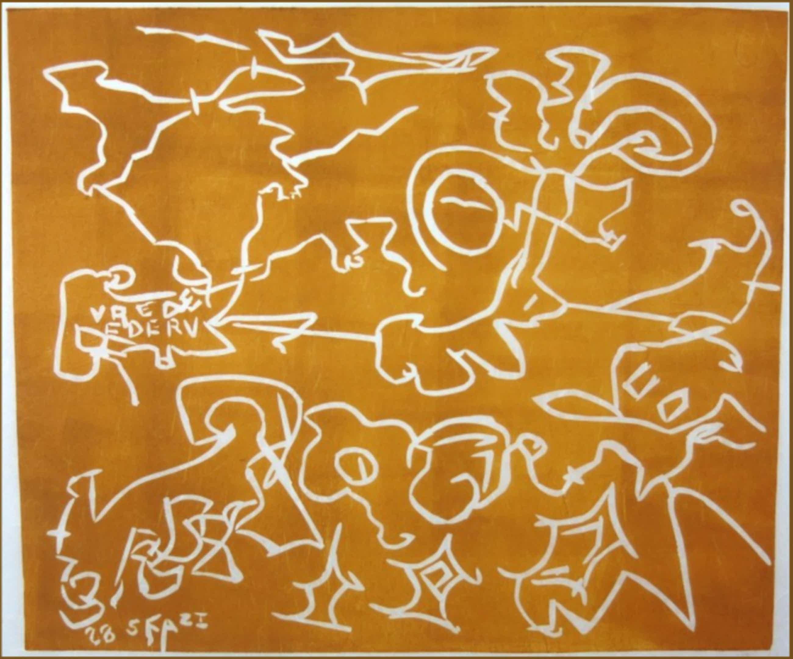 Wim Izaks: Lino op rijstpapier, Vrede oranje (groot) kopen? Bied vanaf 35!