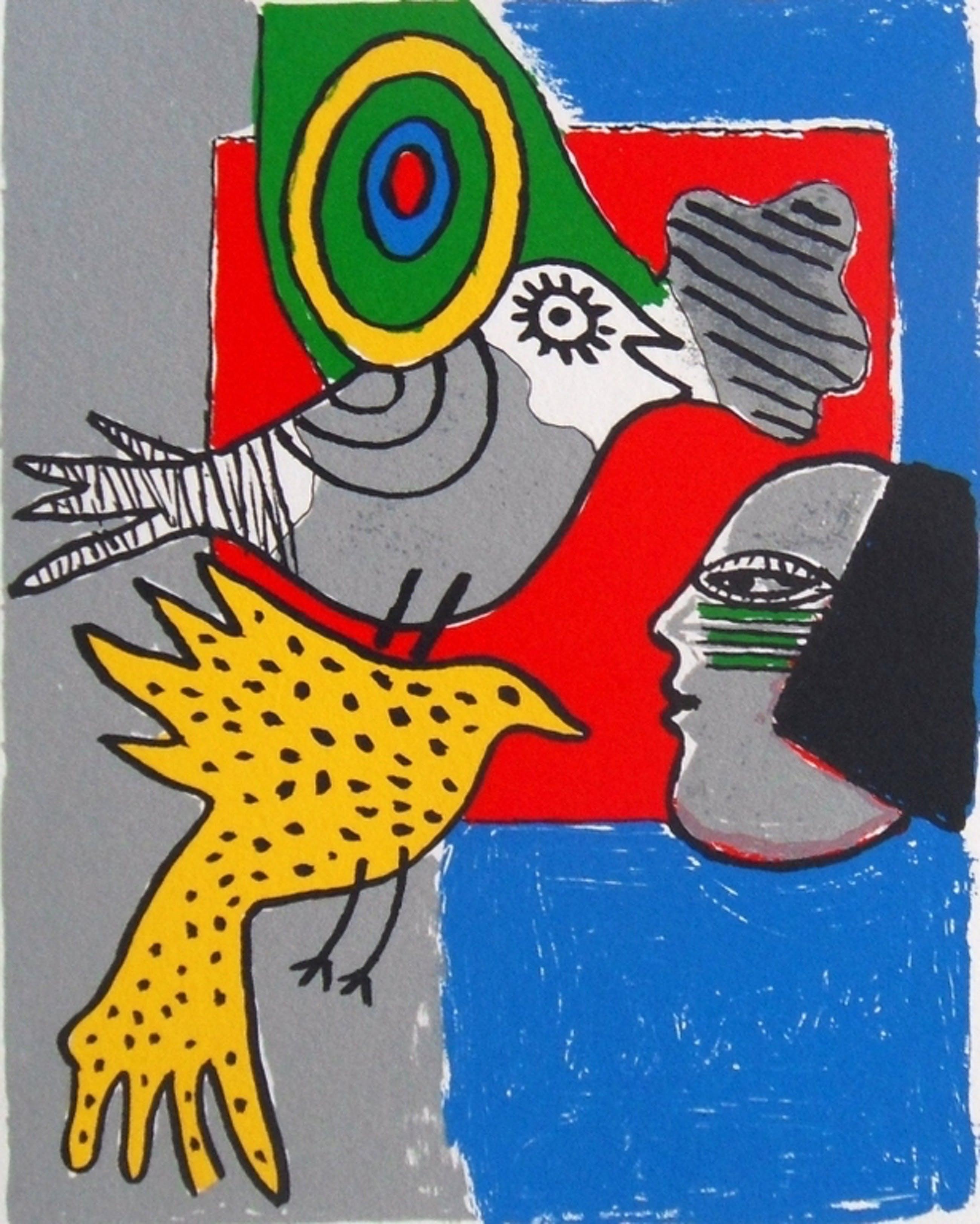 Corneille : vrouw en vogels in grijs en geel kopen? Bied vanaf 1!