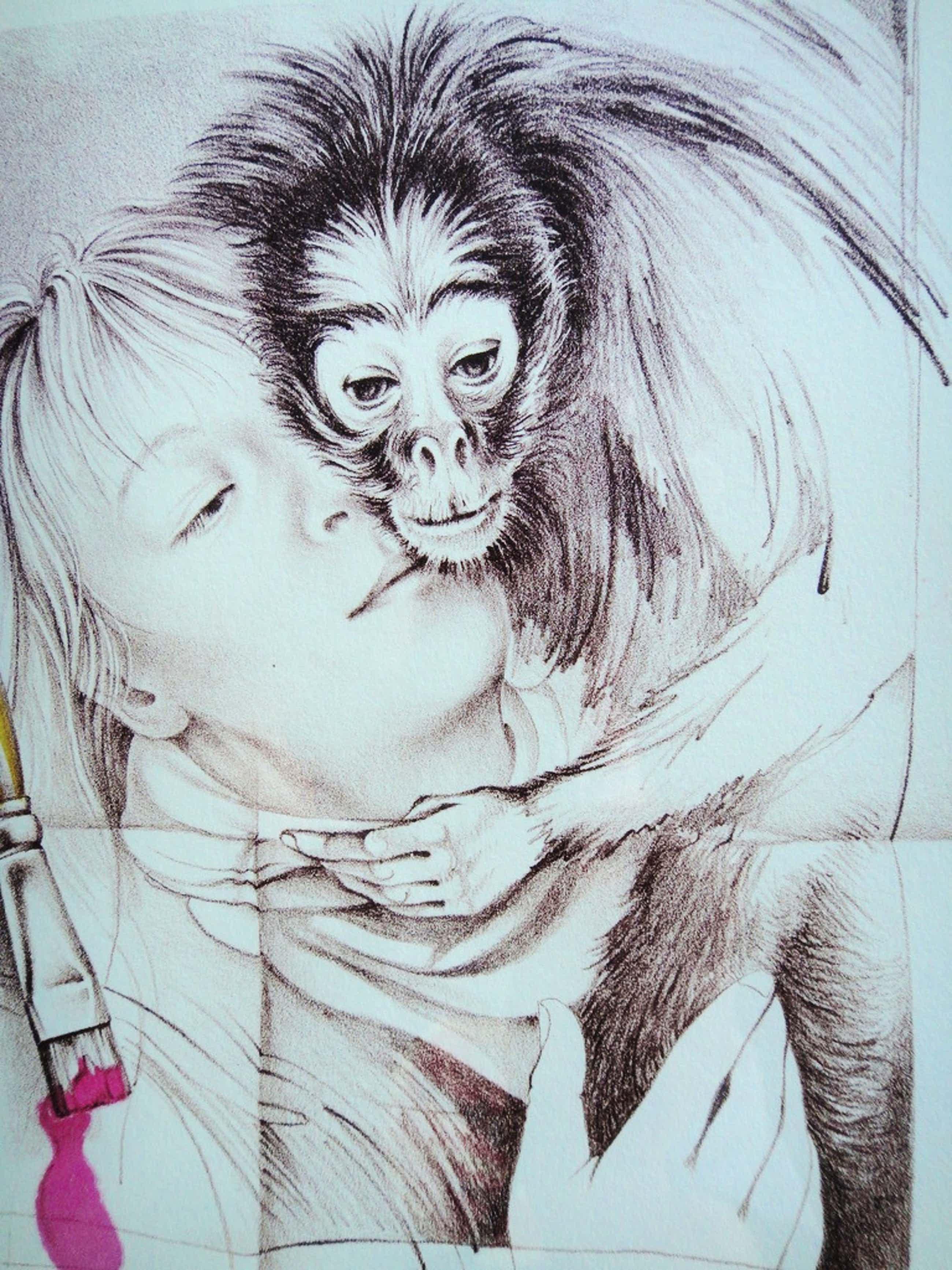 Poen de Wijs (1948-2014), litho, vrouw met aapje kopen? Bied vanaf 111!