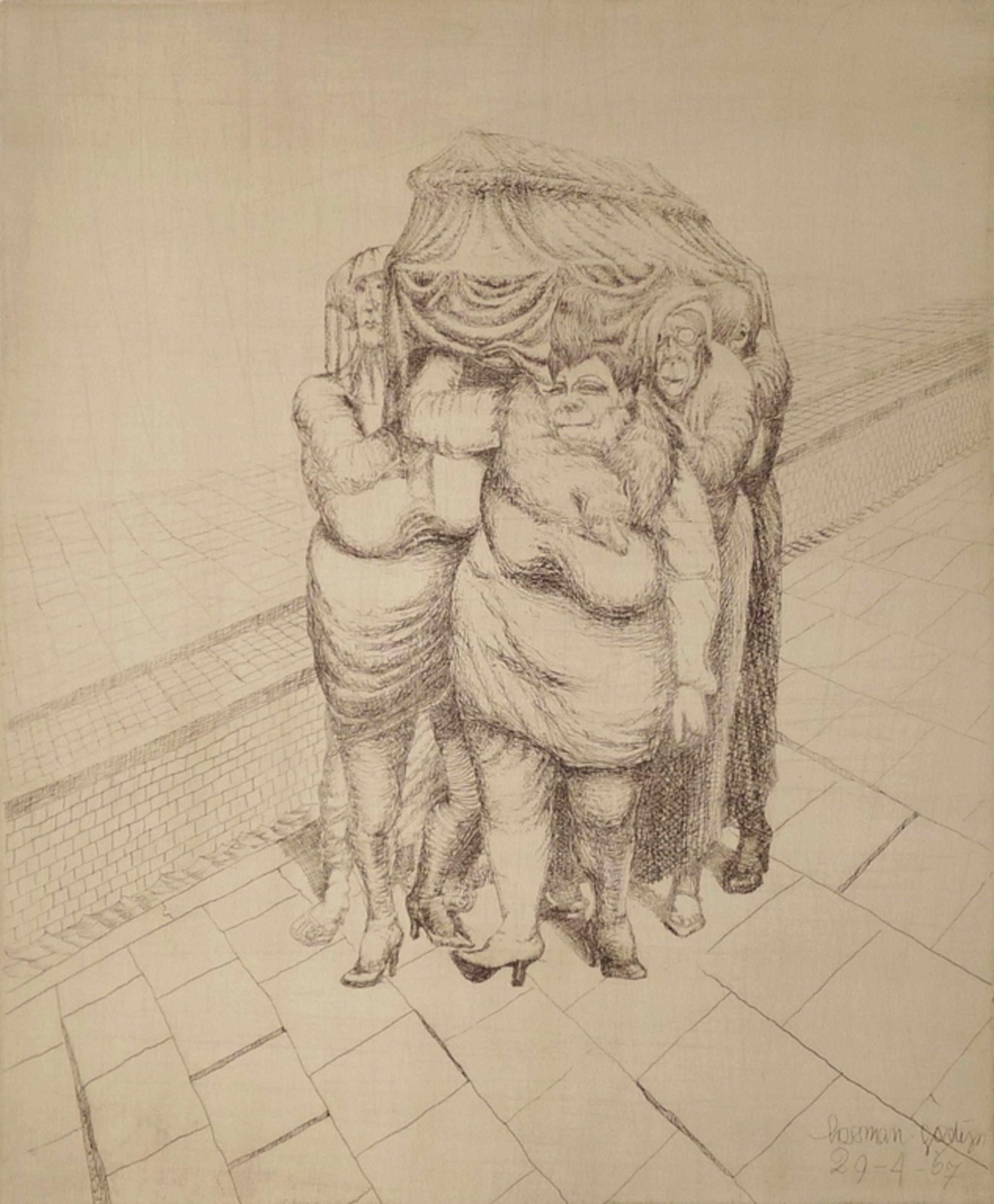 Herman Gordijn: Ets, Begrafenis, Gesigneerd,1967 kopen? Bied vanaf 225!