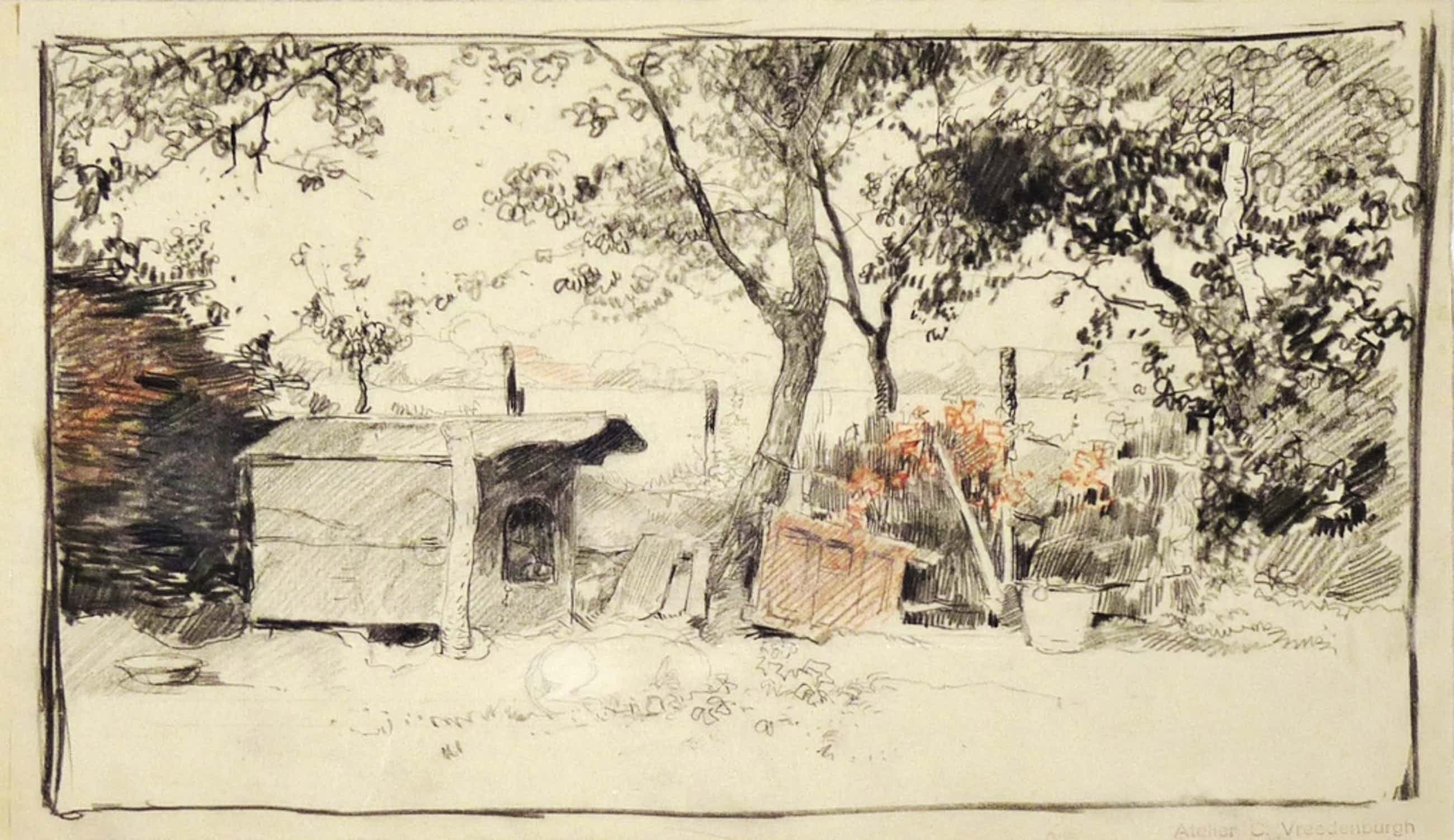 Cornelis Vreedenburgh - Cornelis Vreedenburgh, Krijttekening, Tuin met hondenhok, Met atelierstempel kopen? Bied vanaf 140!