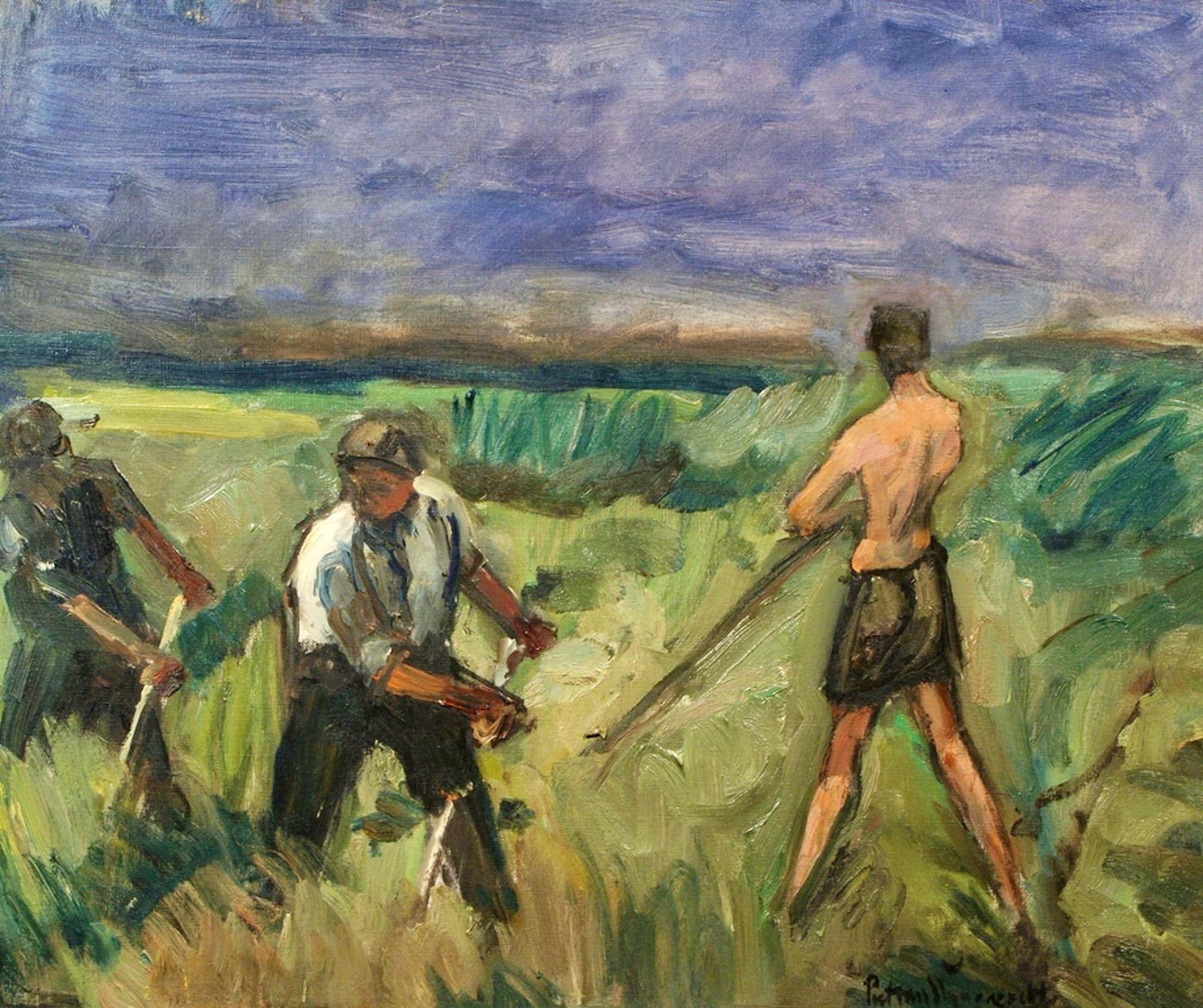 Piet van Wijngaerdt, olieverf op doek, maaiers kopen? Bied vanaf 550!