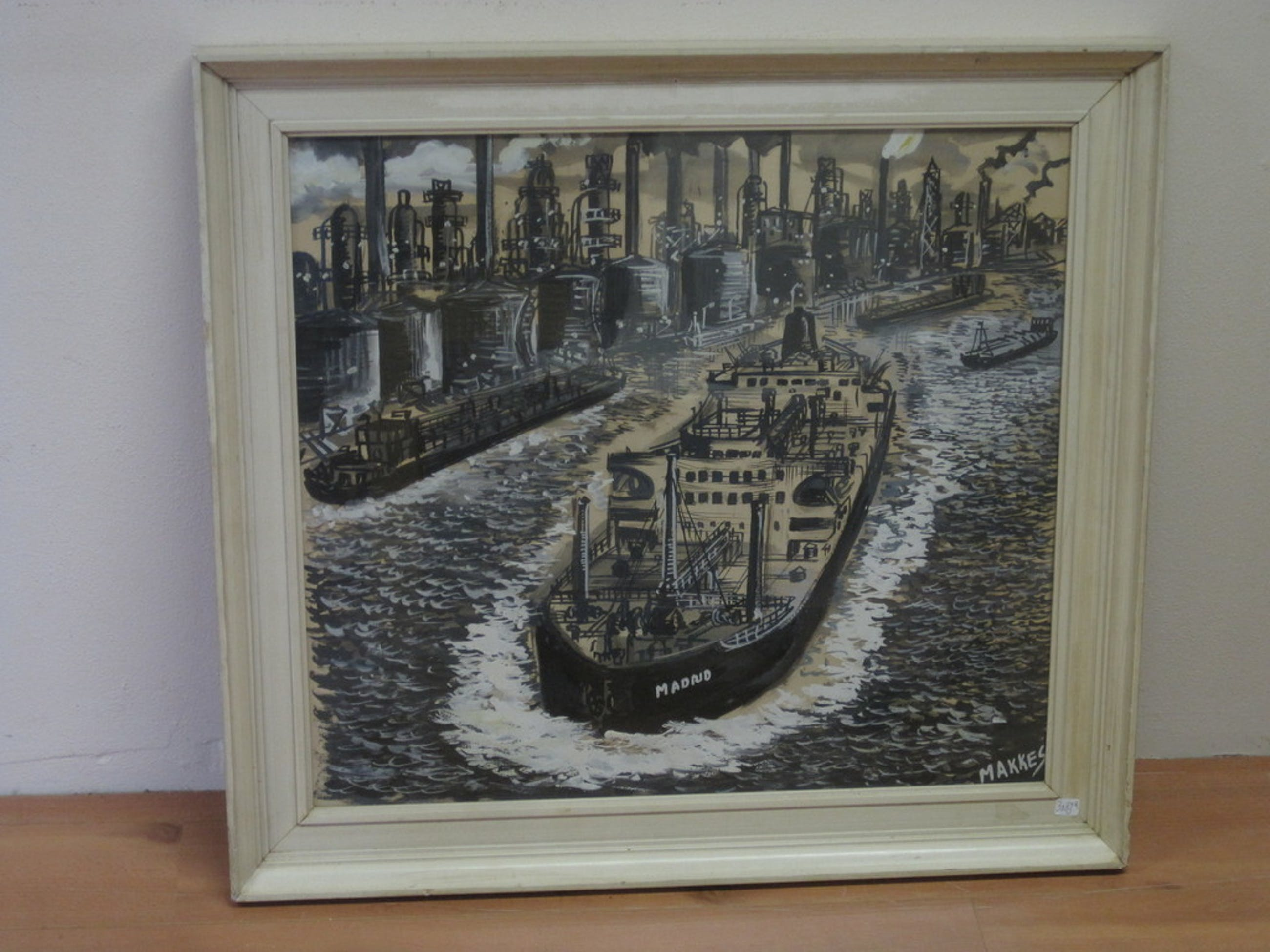 """Jan Makkes 1935 - 1999 """"de Botlek haven Rotterdam"""" gem. techniek ca. 1960 kopen? Bied vanaf 1!"""