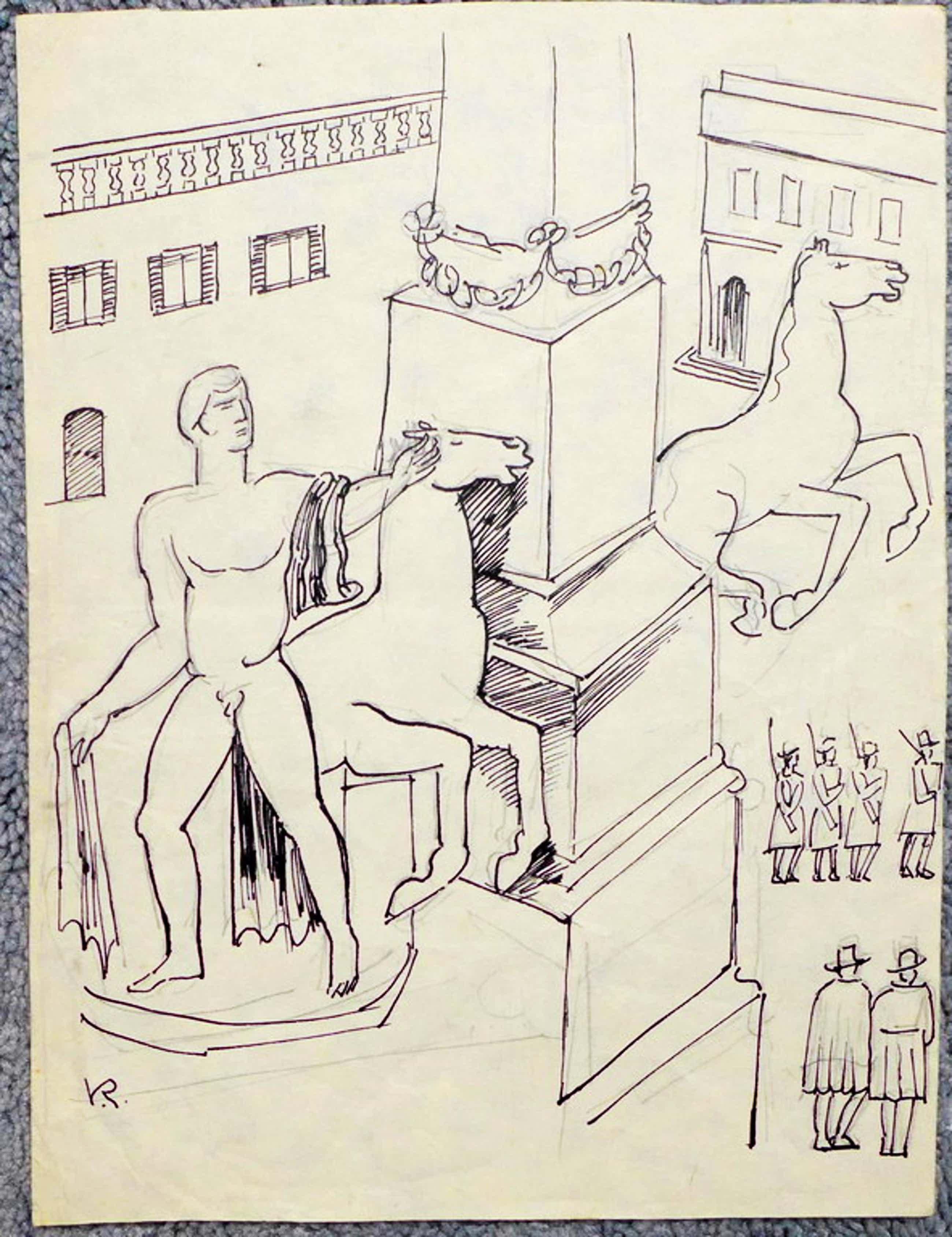 Otto van Rees - Otto van Rees,tekening gesigneerd linksonder VR bladformaat 21.8 x 16.5 cm.  kopen? Bied vanaf 50!