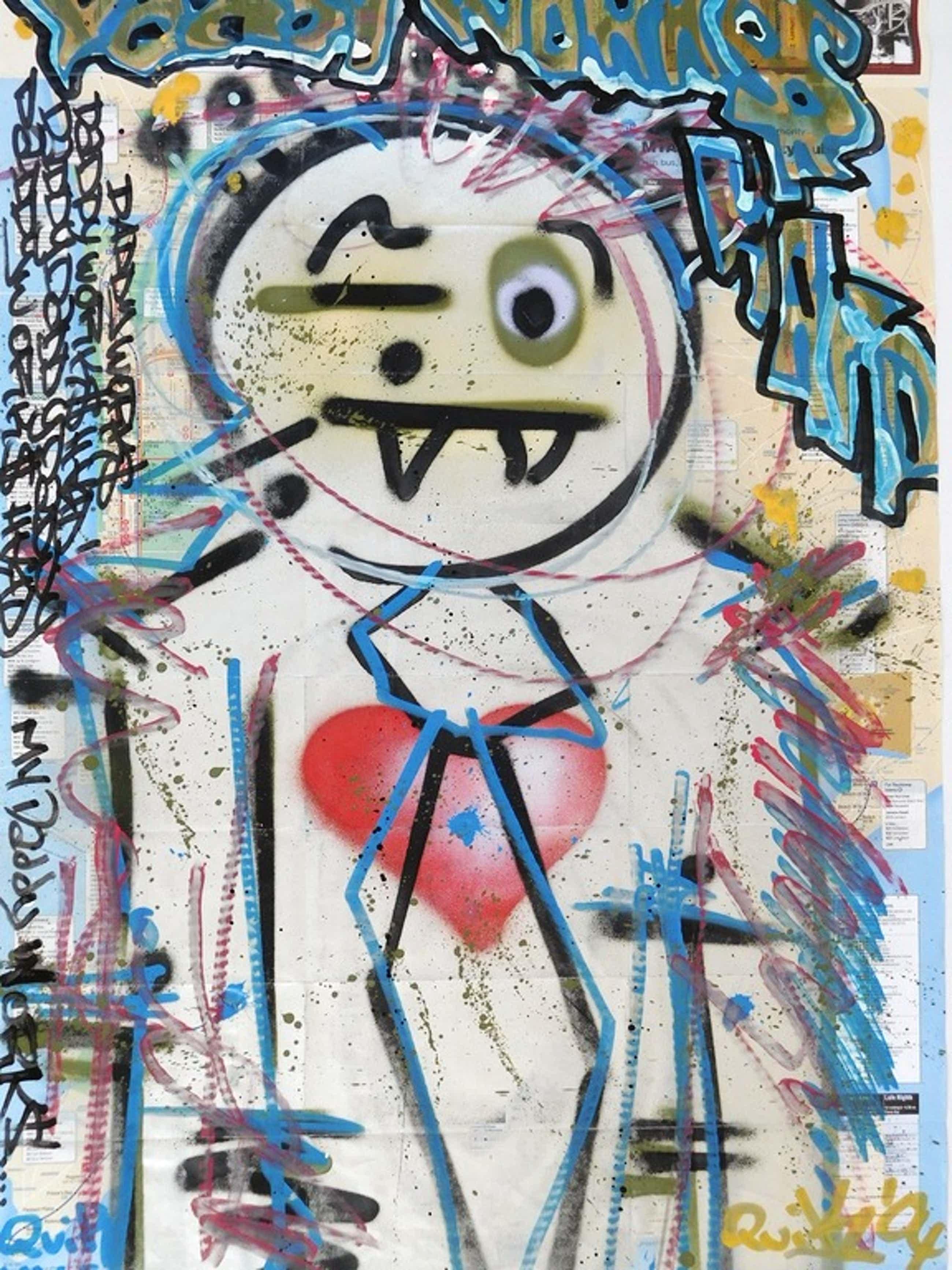 "Quik Lin Felton, ""My Daddy works"", Gem. techniek (graffiti) op kaart NYC, 2004 kopen? Bied vanaf 750!"