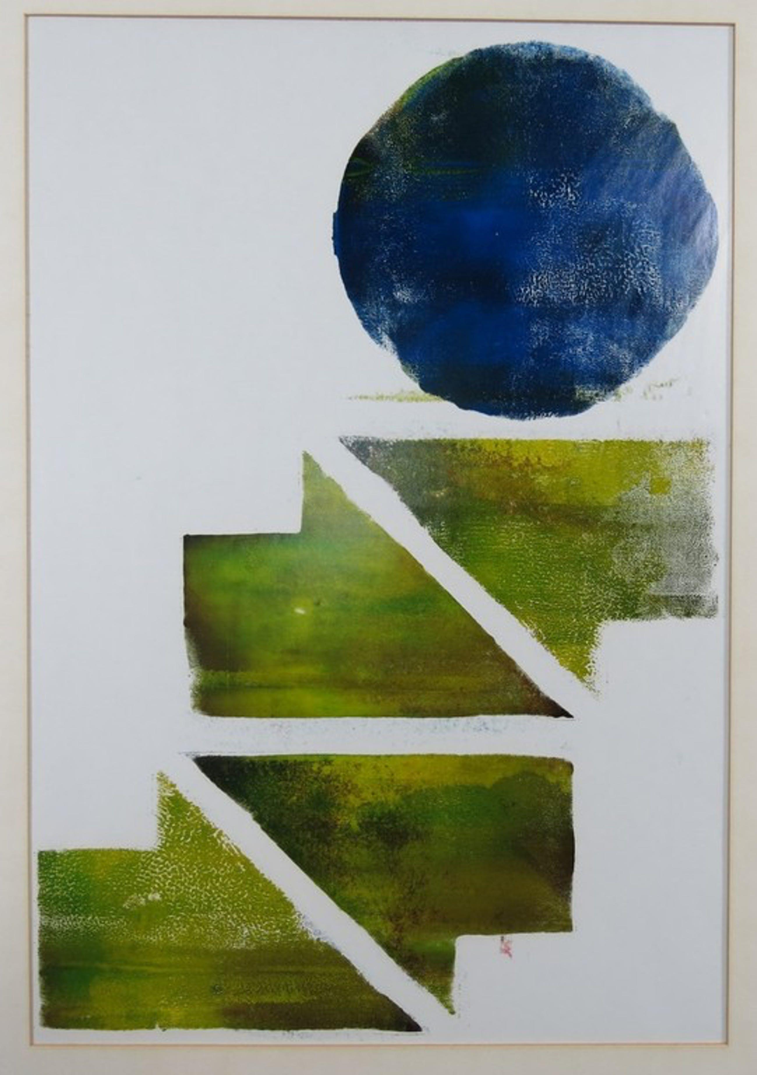 Amarentia Leopold-Oswald: Monotype, Zonder titel (abstract groen en blauw) kopen? Bied vanaf 1!