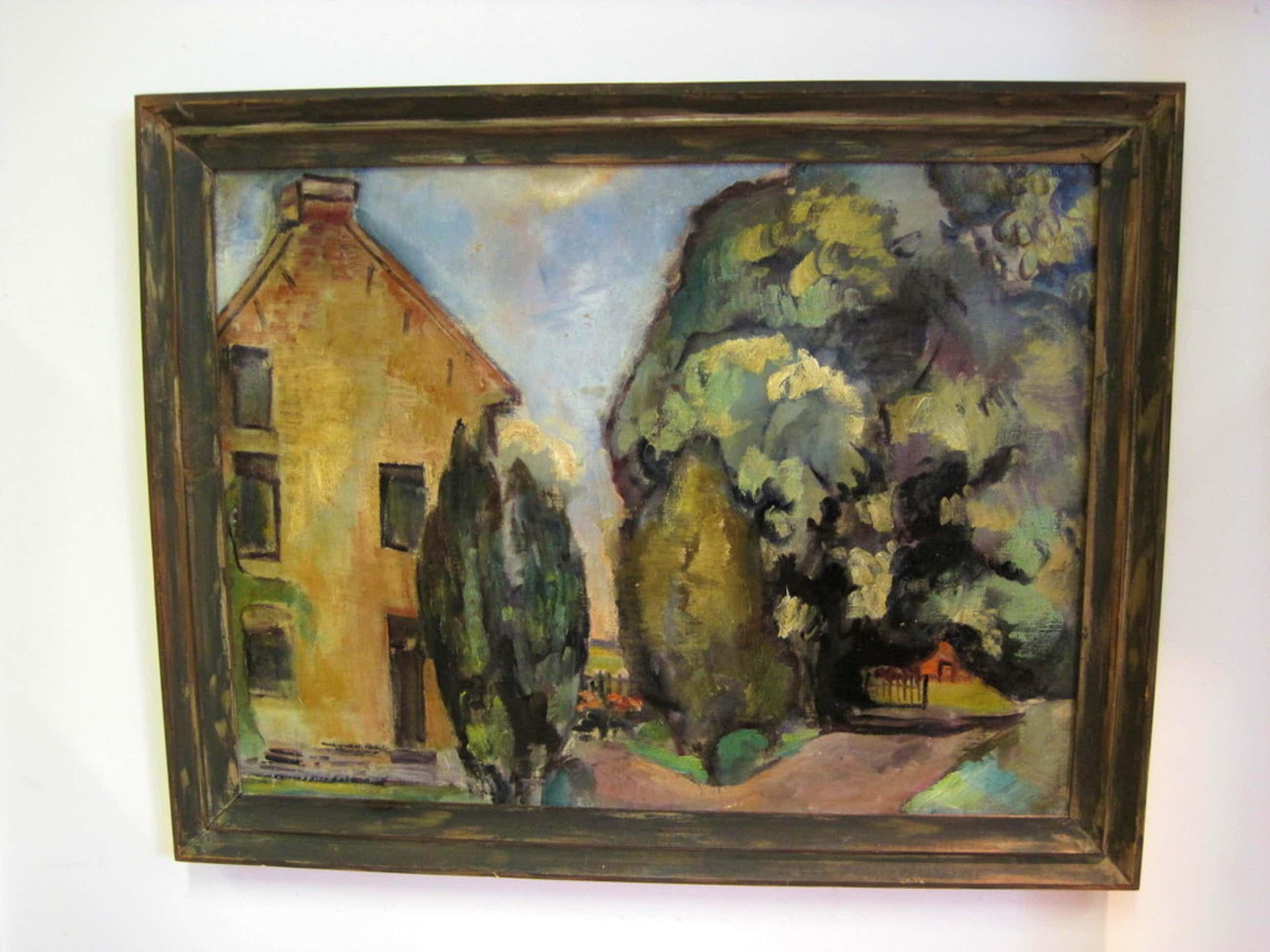 "Hans Wiesman 1918-1988 expressionisme ""huis met cypressen"" olieverf 1940 kopen? Bied vanaf 75!"