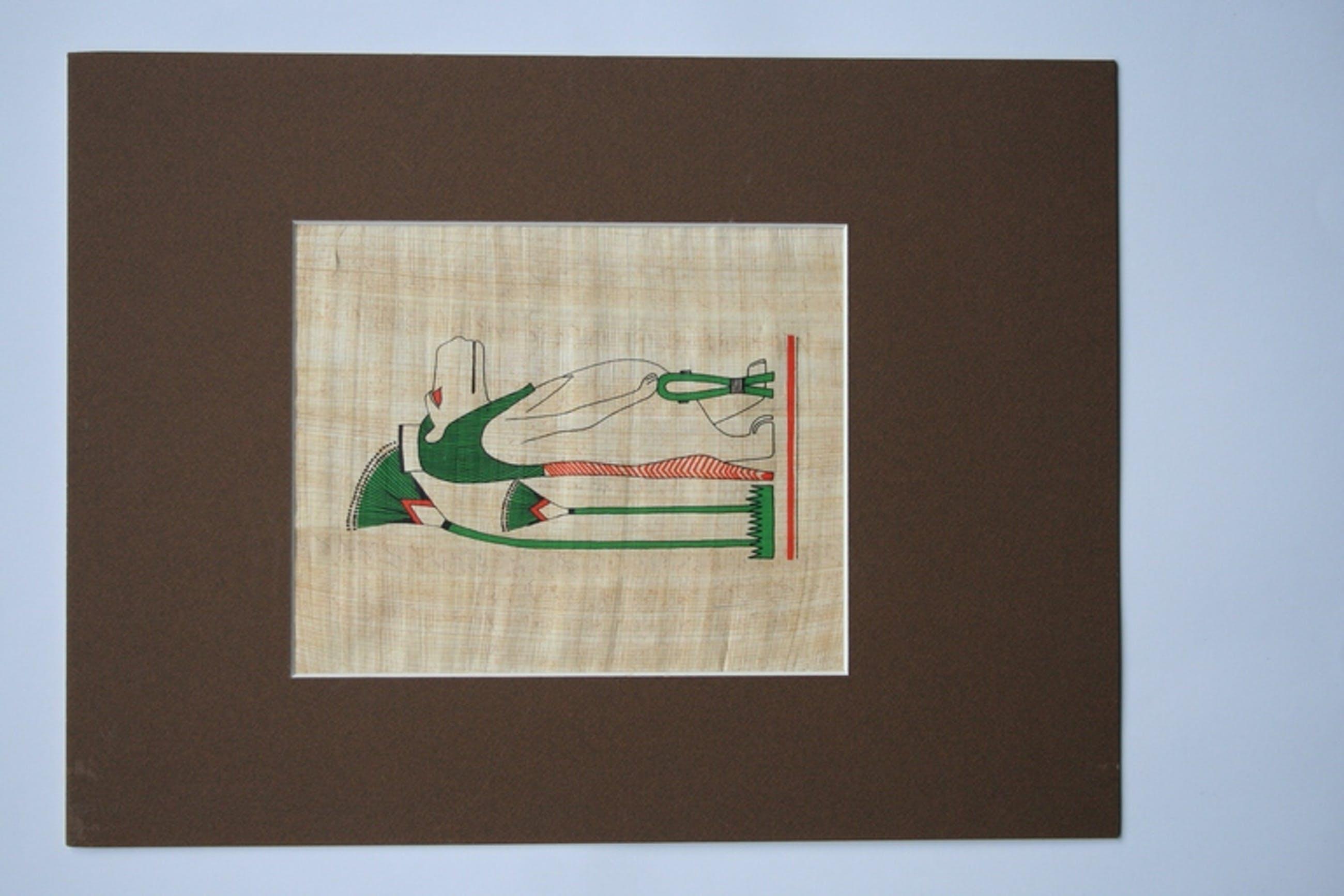 Egyptische godin Toeris, zeefdruk op papyrus kopen? Bied vanaf 1!